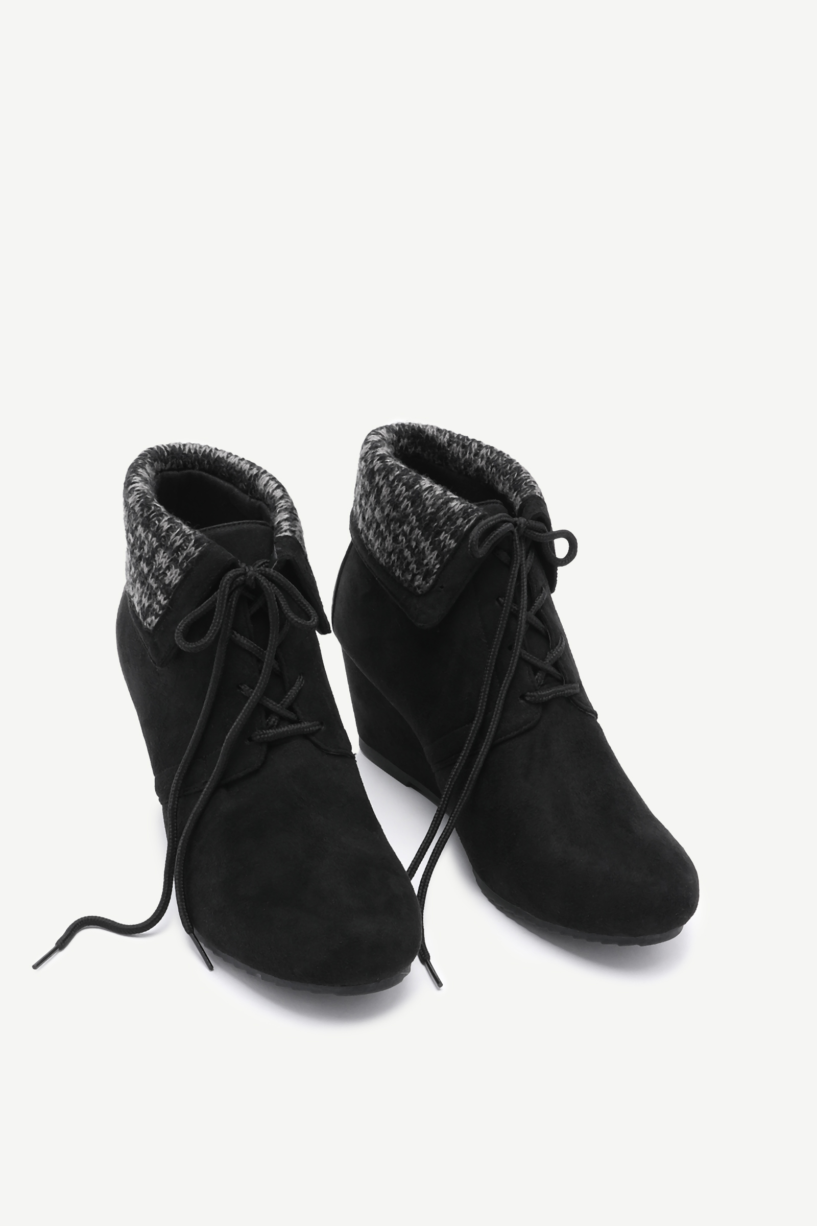 Folded Wedge Heel Booties