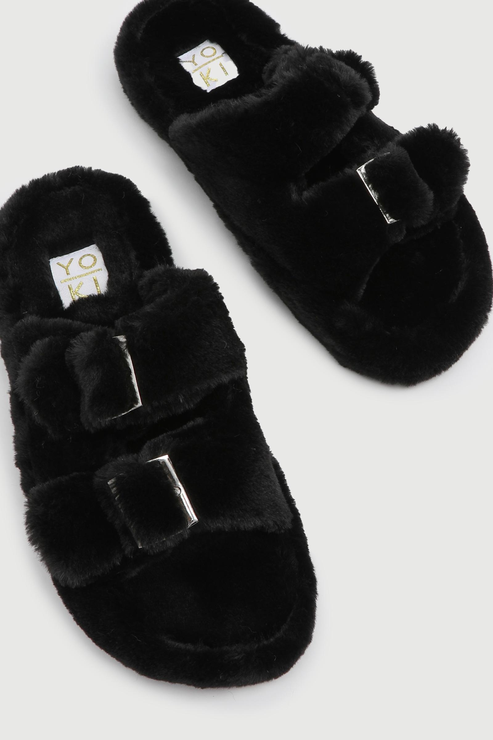 Faux Fur Buckle Slippers