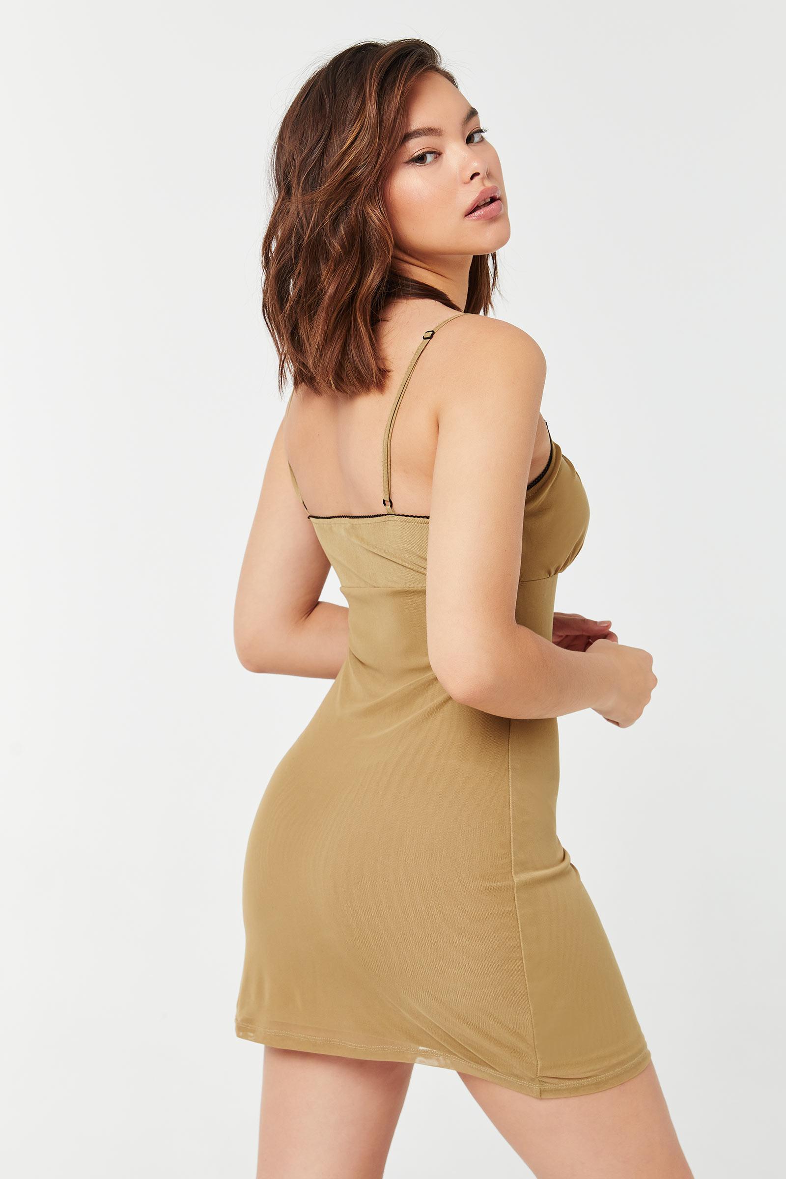 Square-Neck Mini Mesh Dress