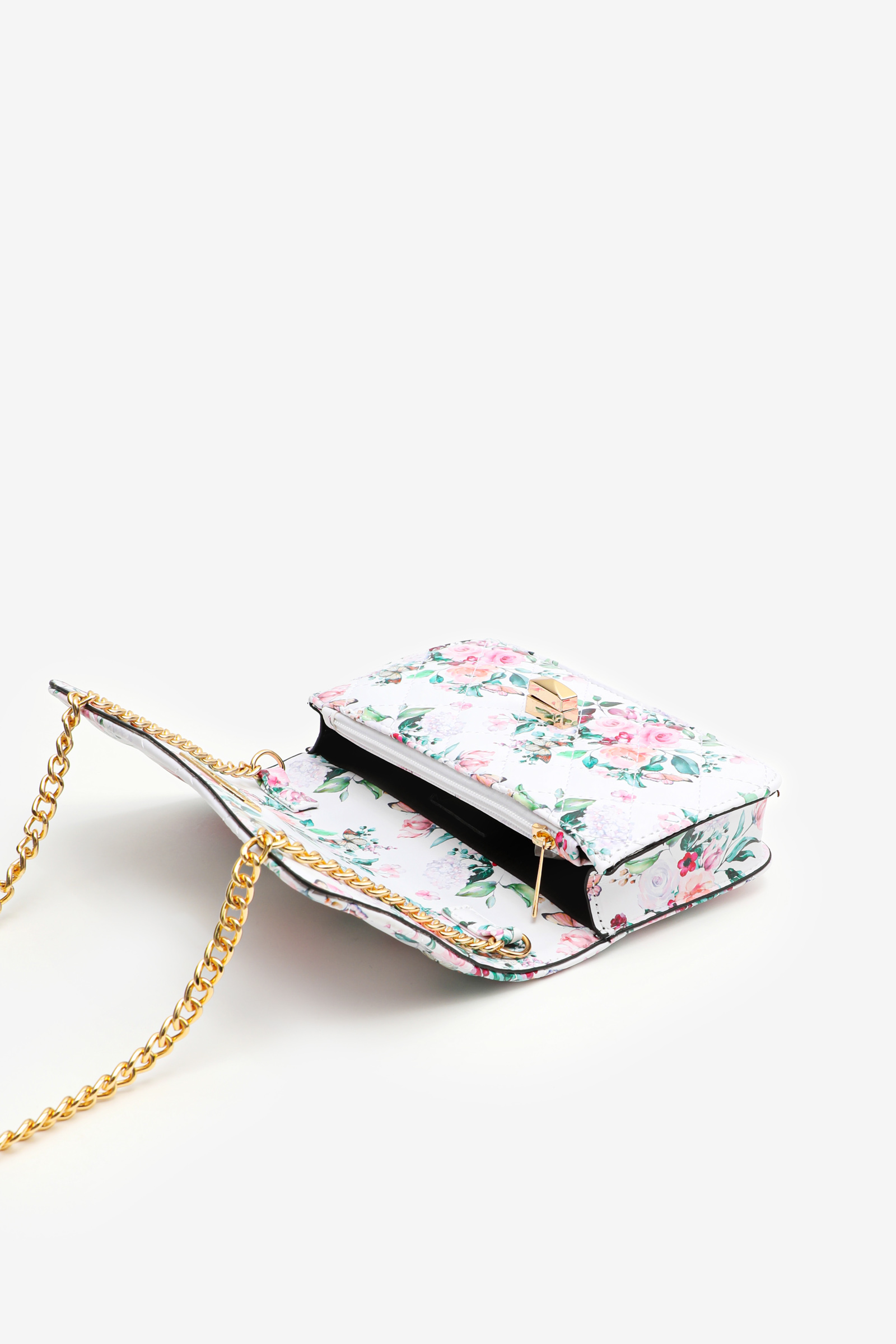 Floral Quilted Crossbody Bag
