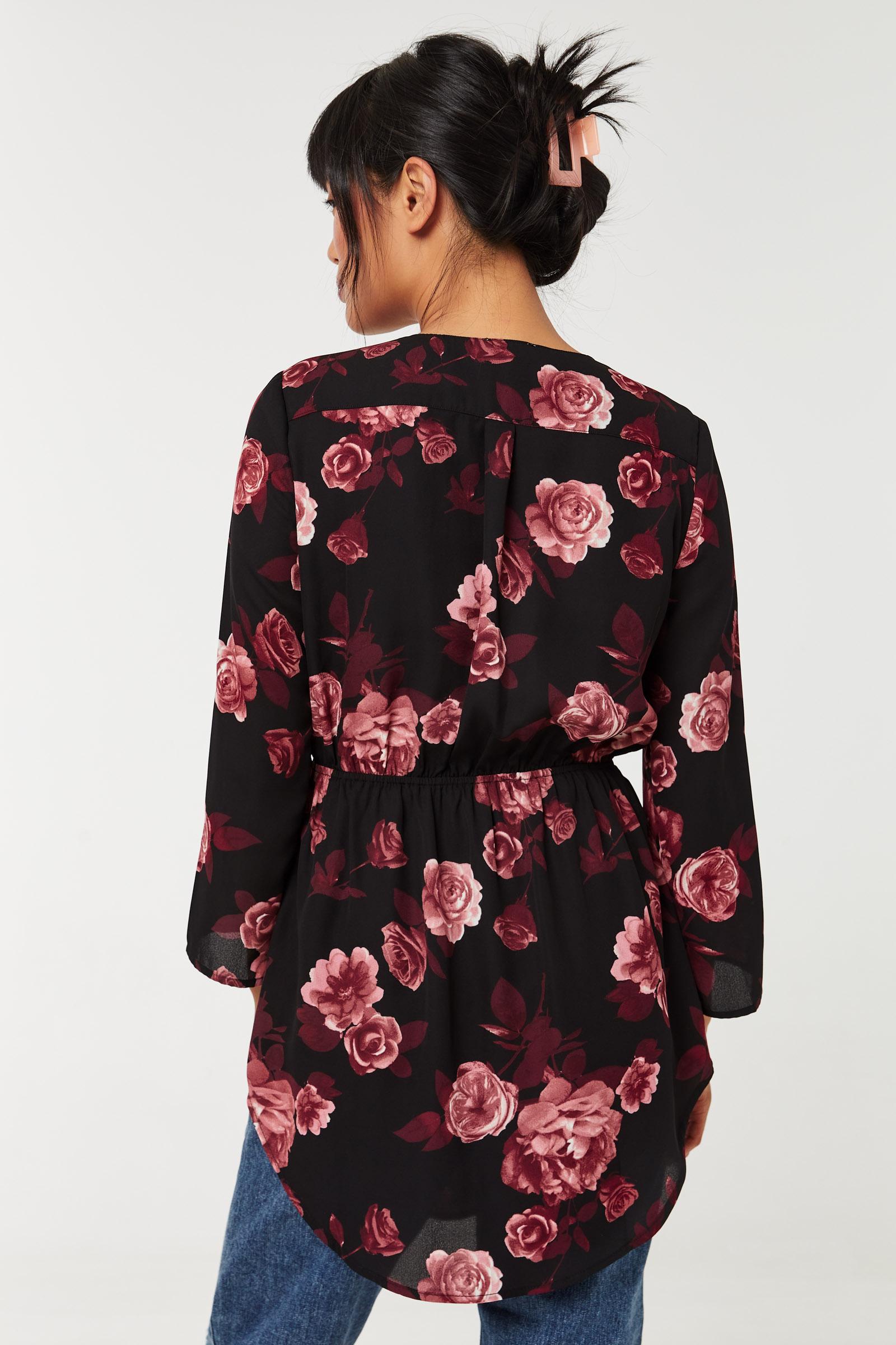 Floral Zip-Up Blouse