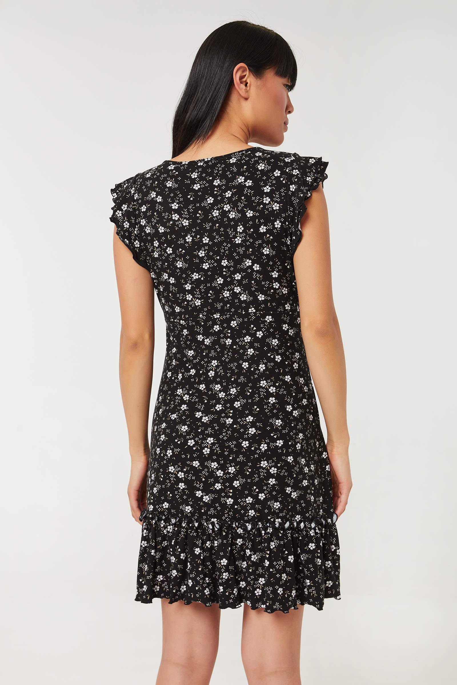 Ditsy Floral Mini Dress with Flounces