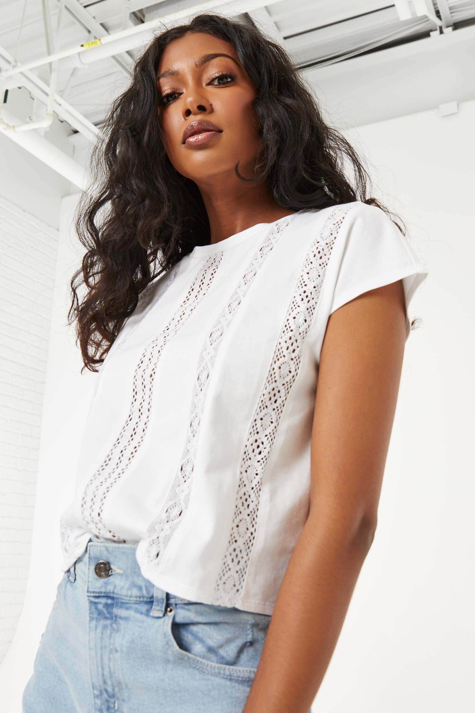 T-shirt with Crochet Inserts