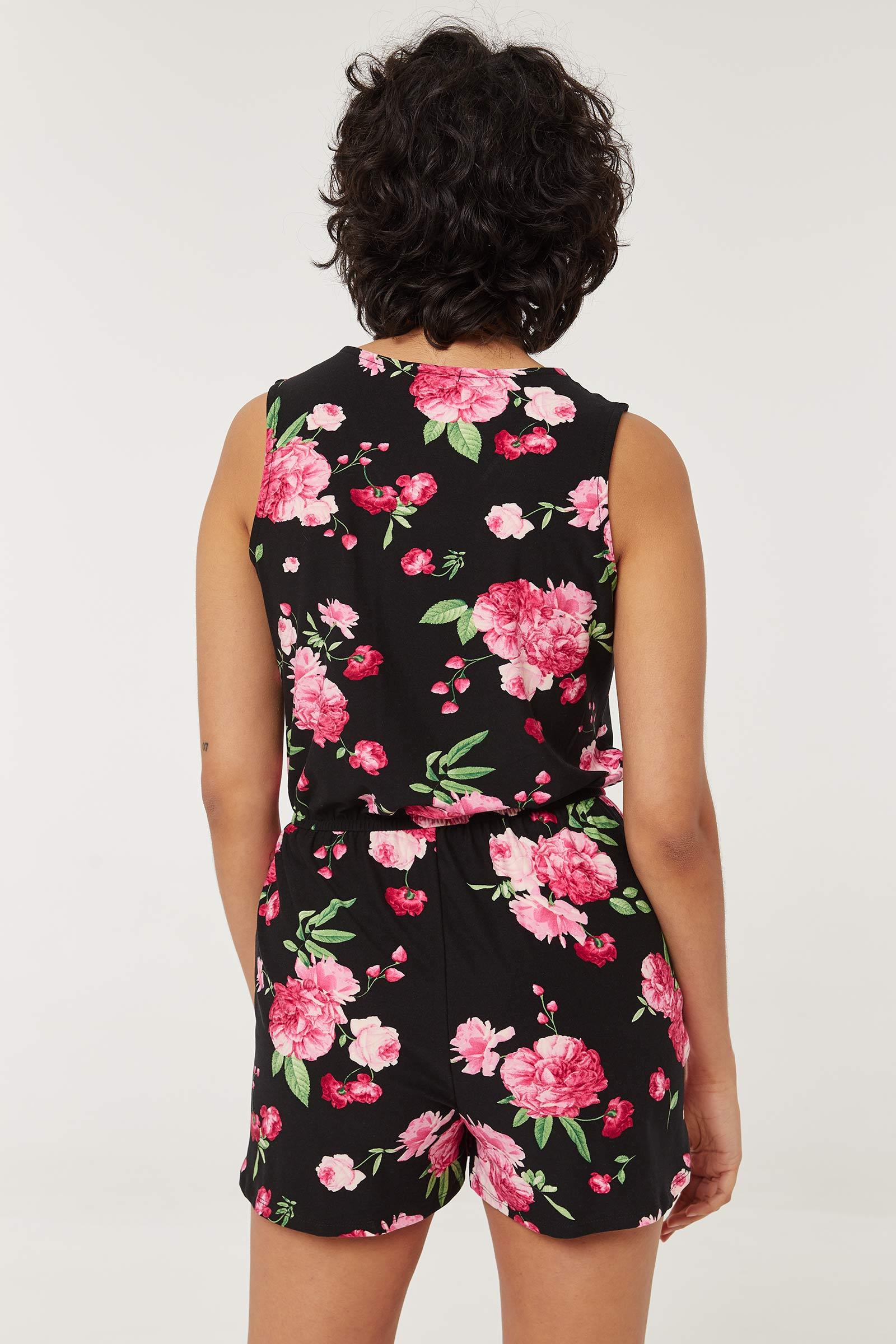 Combishort fleuri à zip très doux