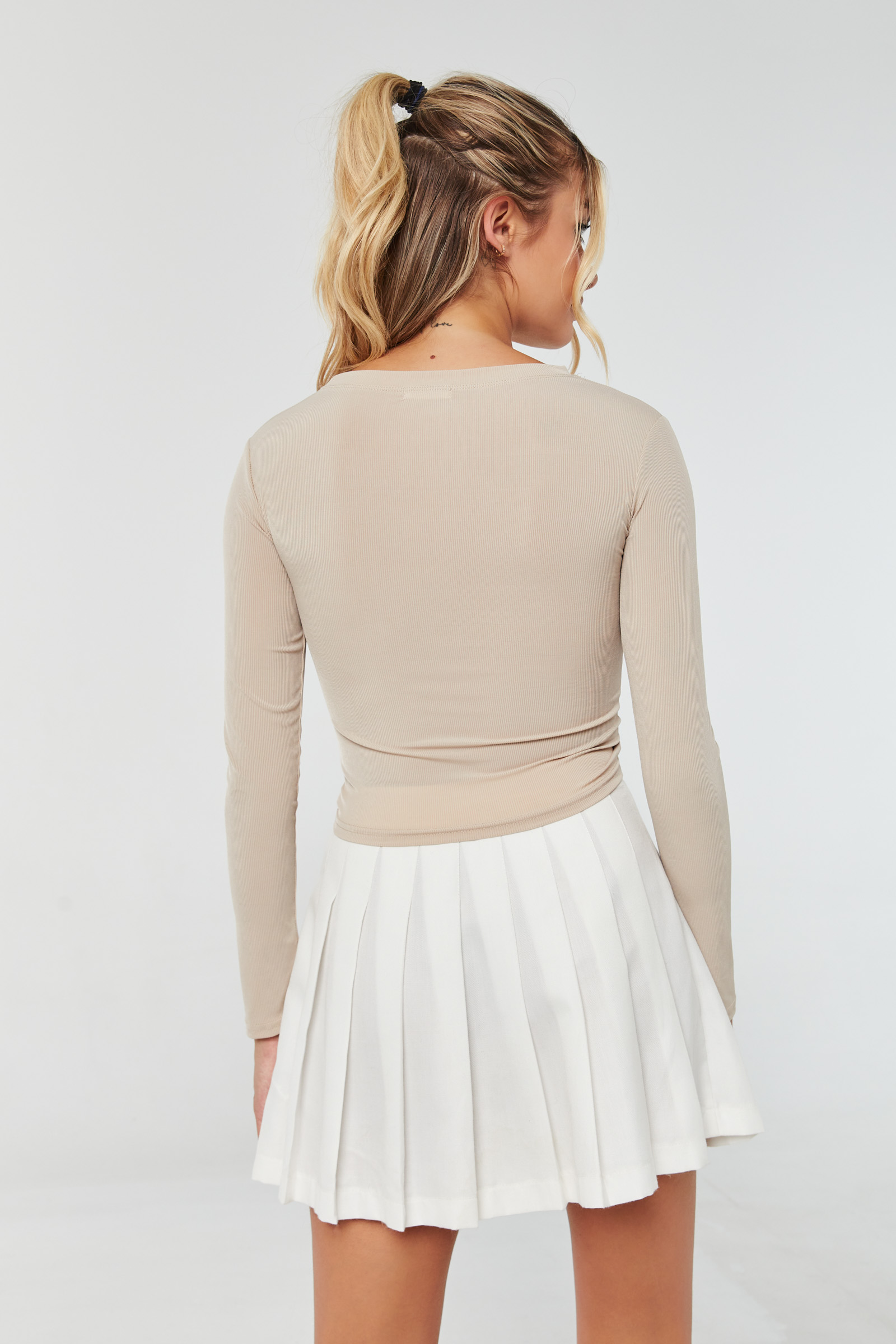 Ribbed Tee with Side Ruching