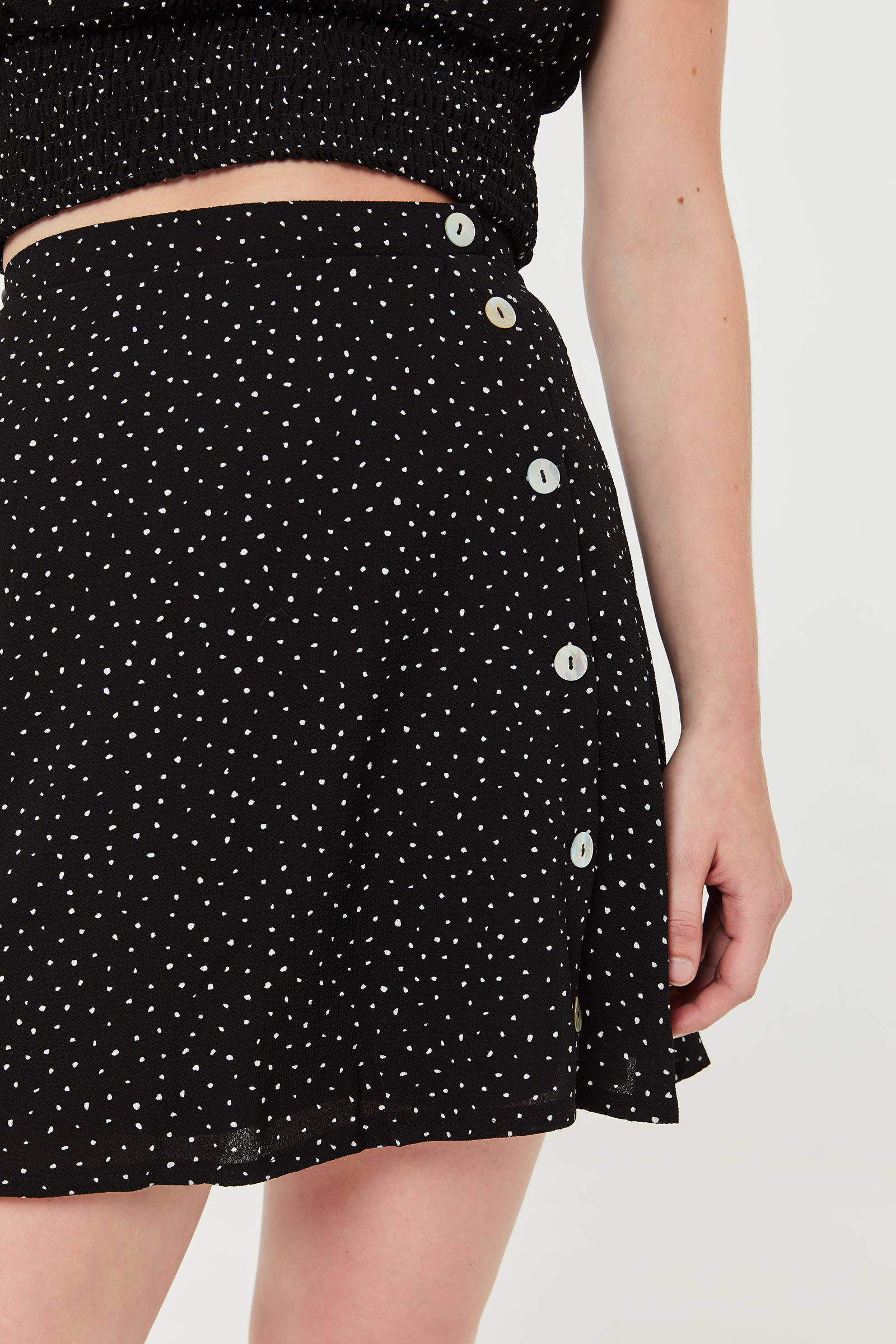 Ditsy Dots Skirts with Side Buttons