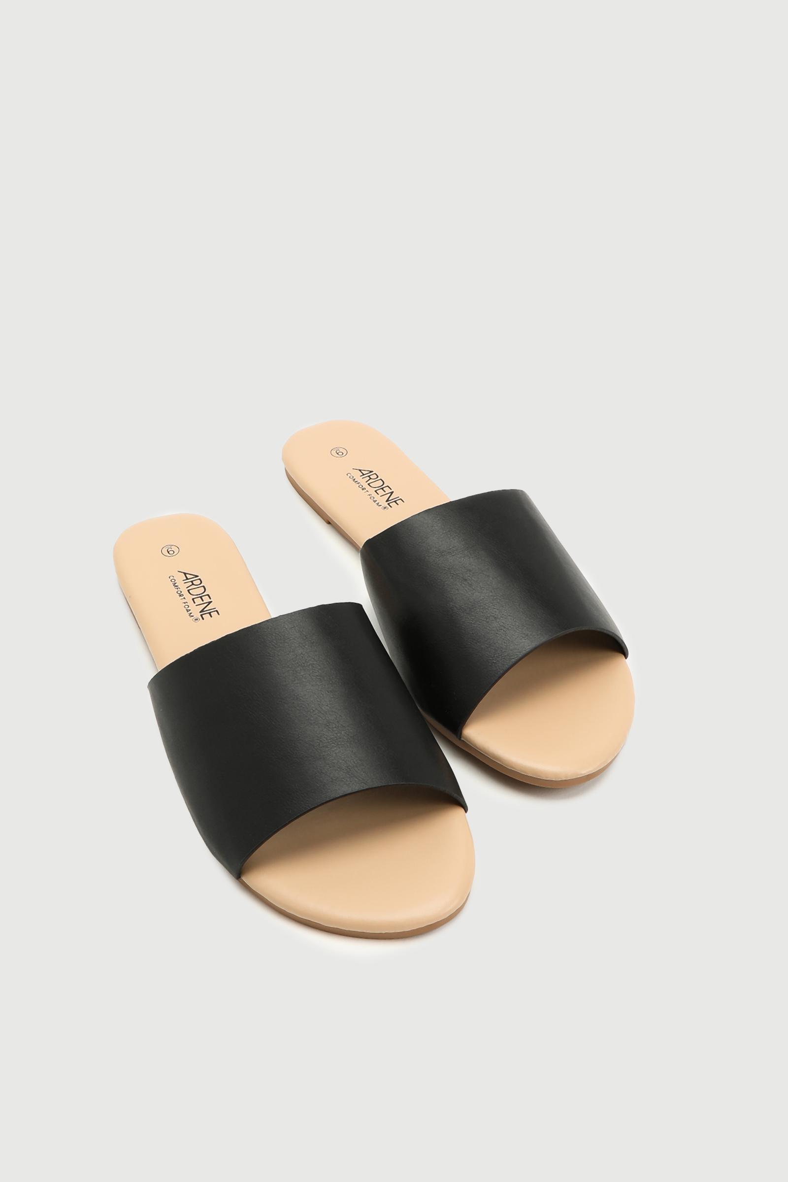 Faux Leather Slides