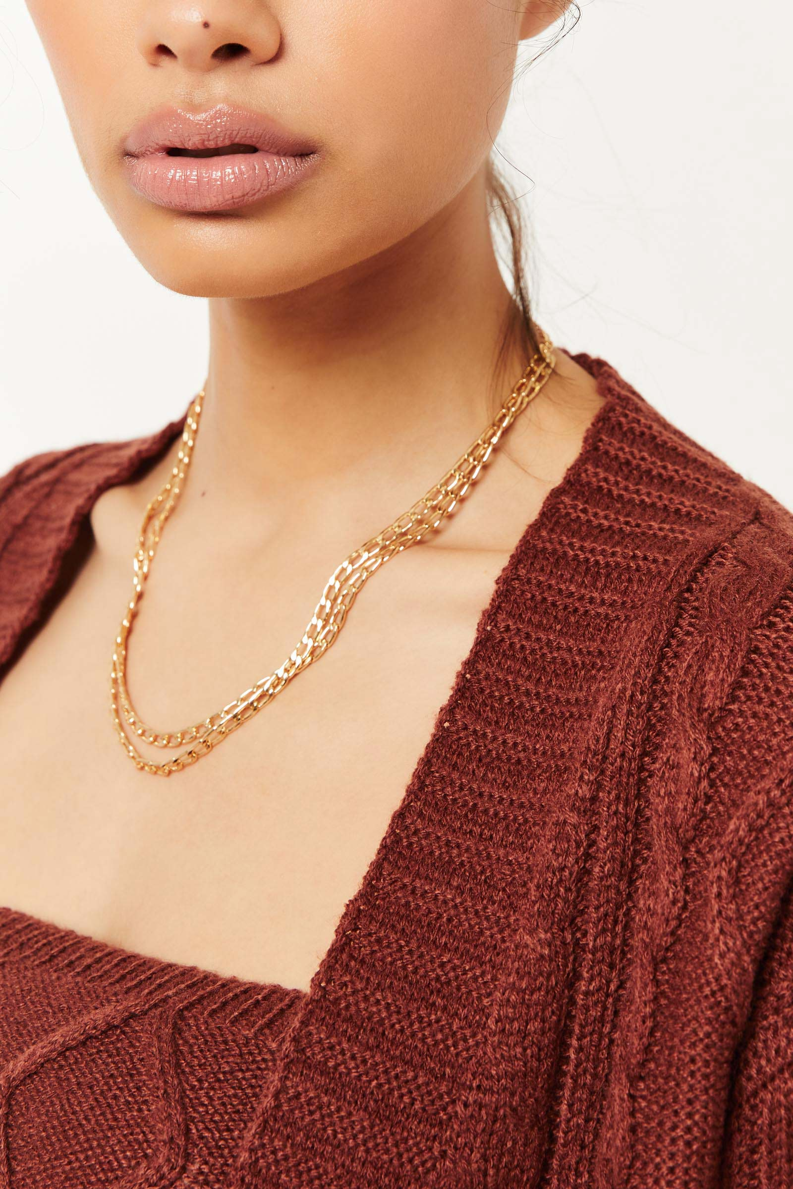 Layered Chain & Paper Clip Necklace