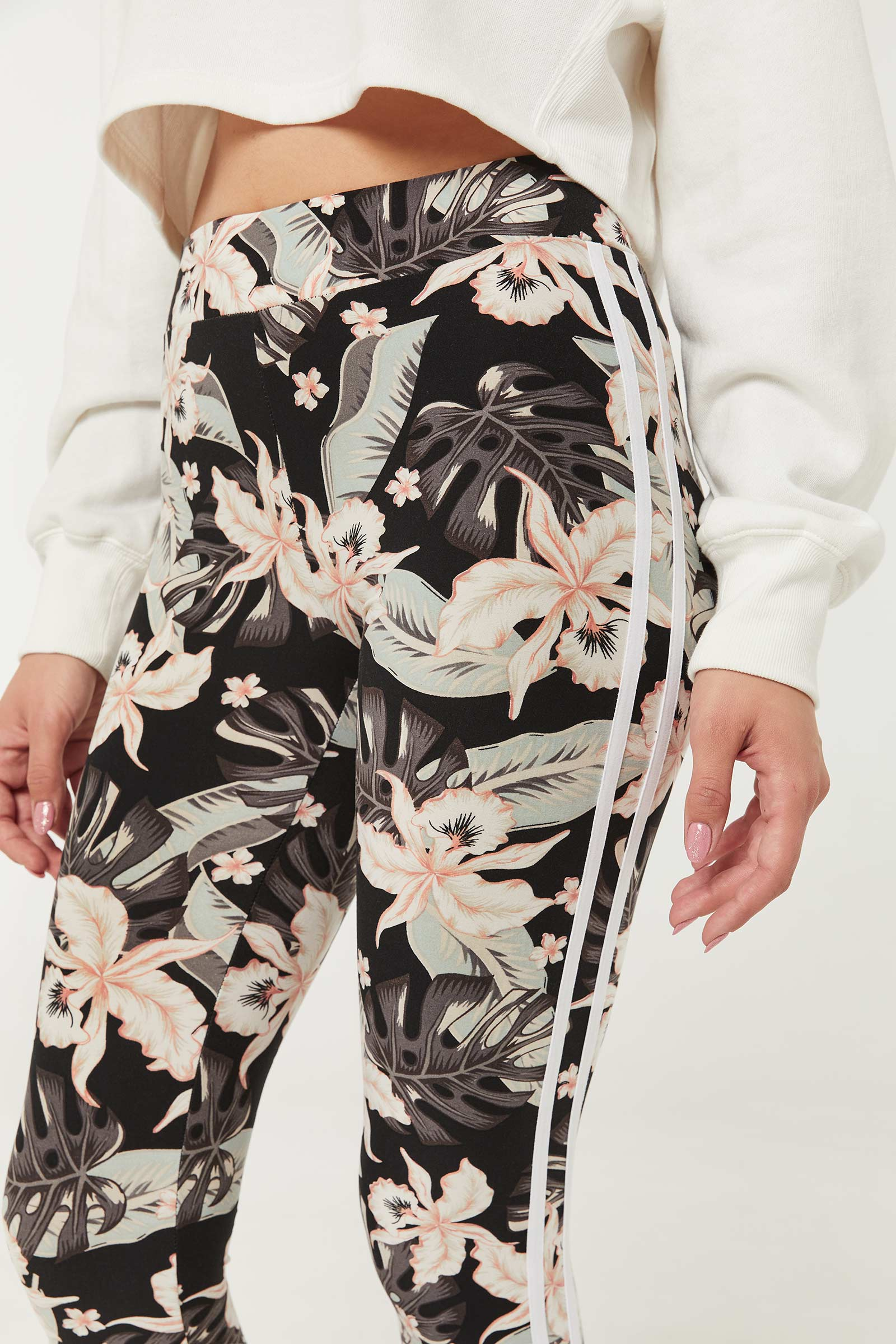 Floral Side Stripe Leggings