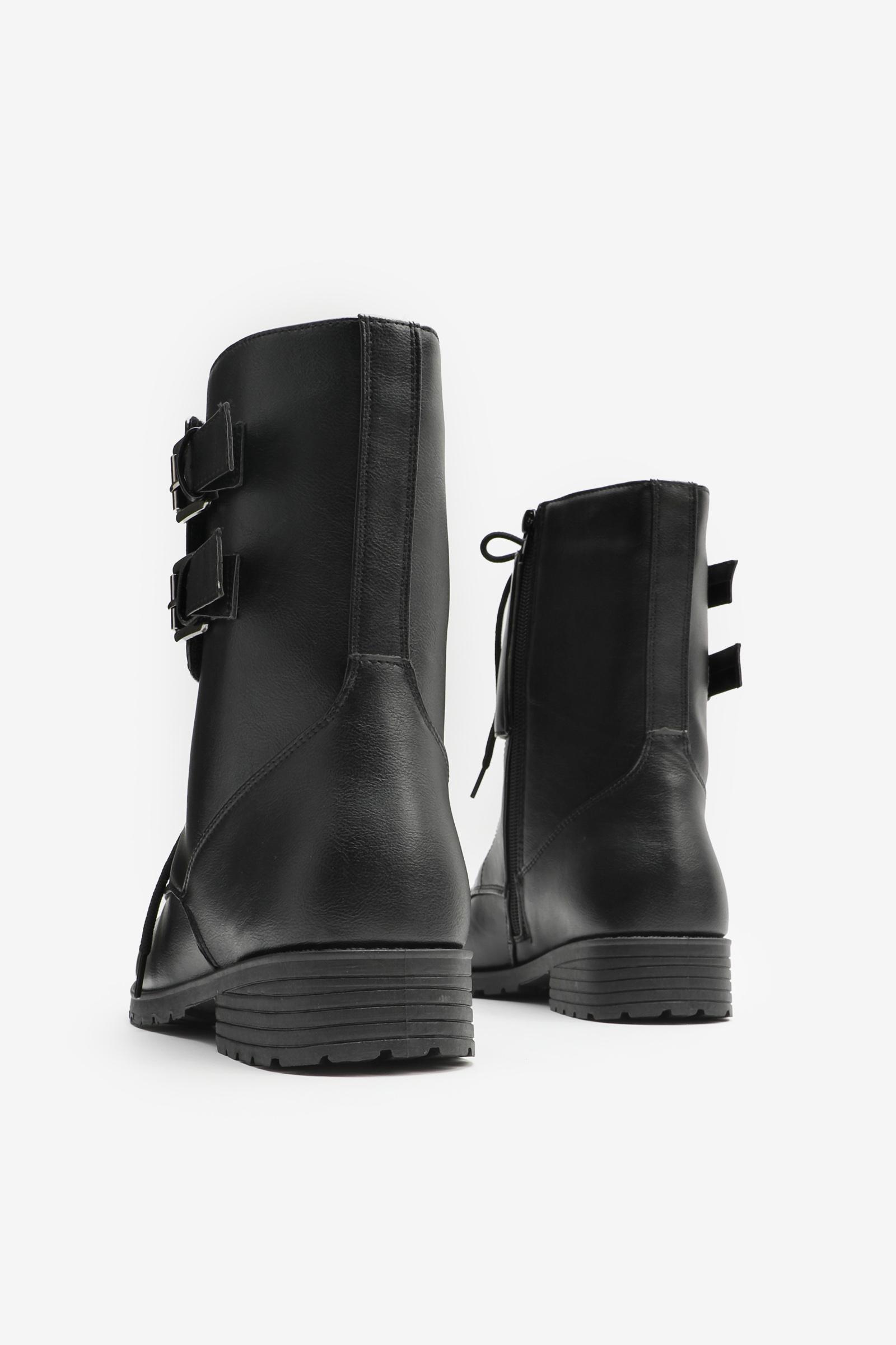 Buckled Flap Combat Boots