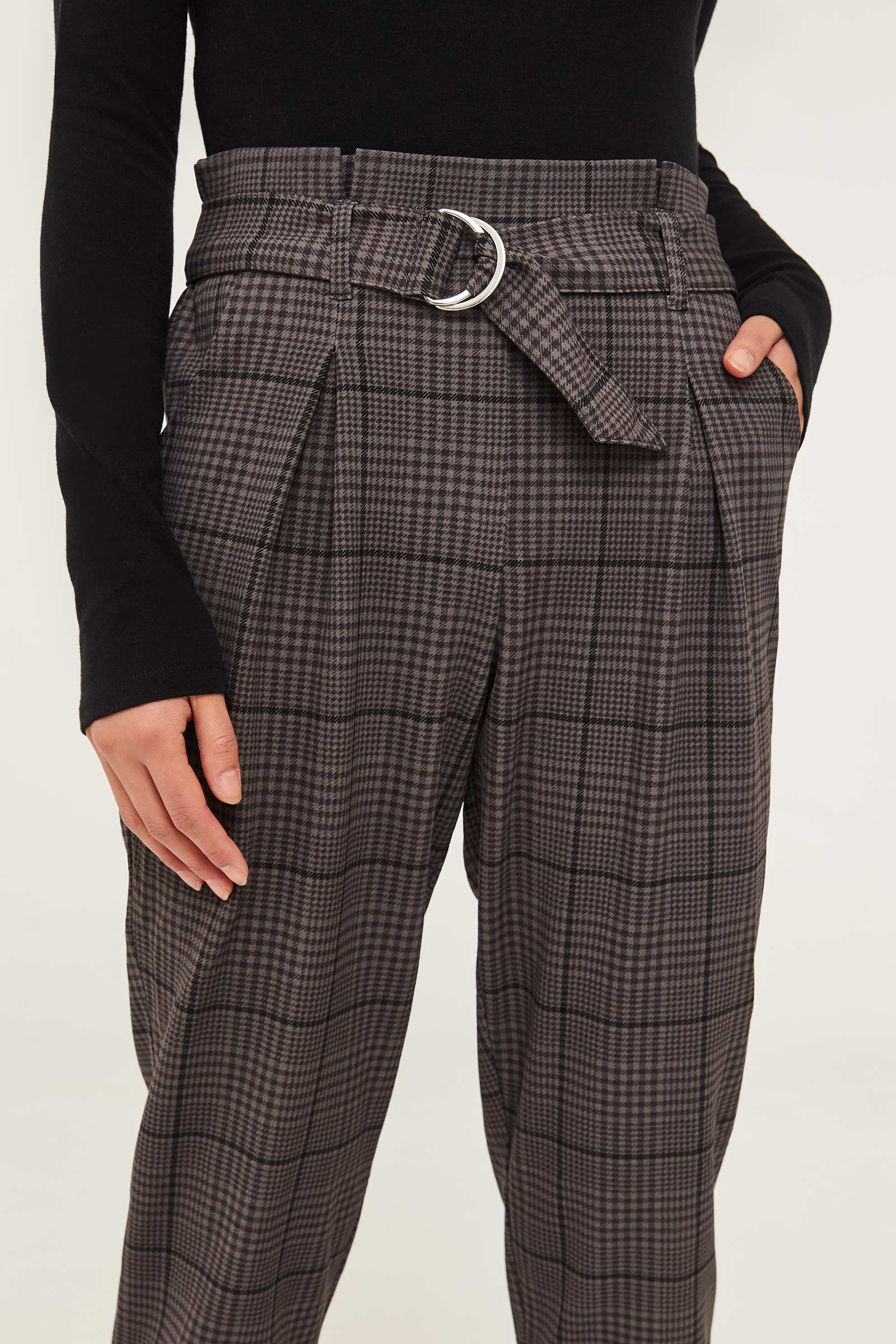 Crepe Plaid Paper Bag Pants