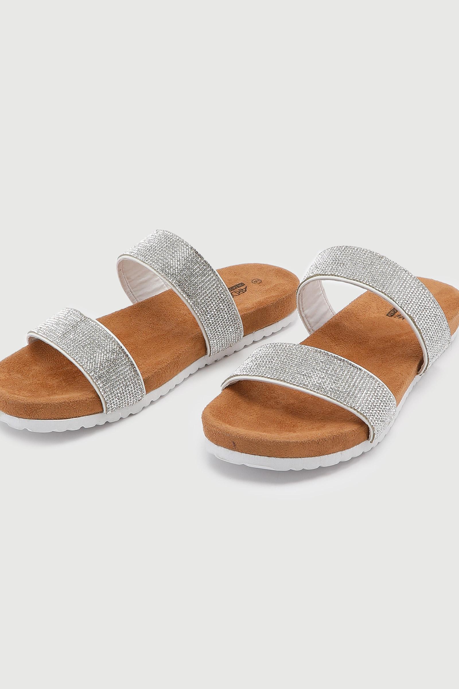 Sandales à double courroies en cristaux
