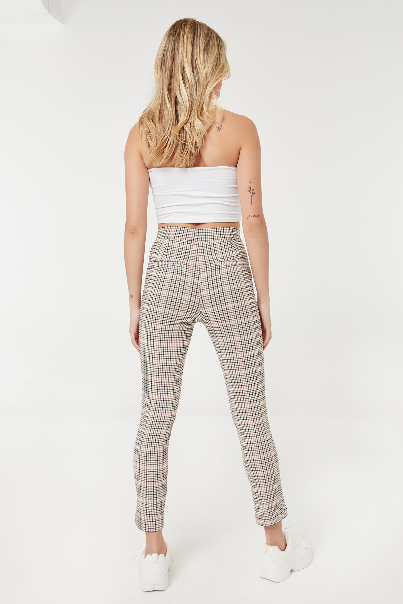 High Rise Plaid Pants