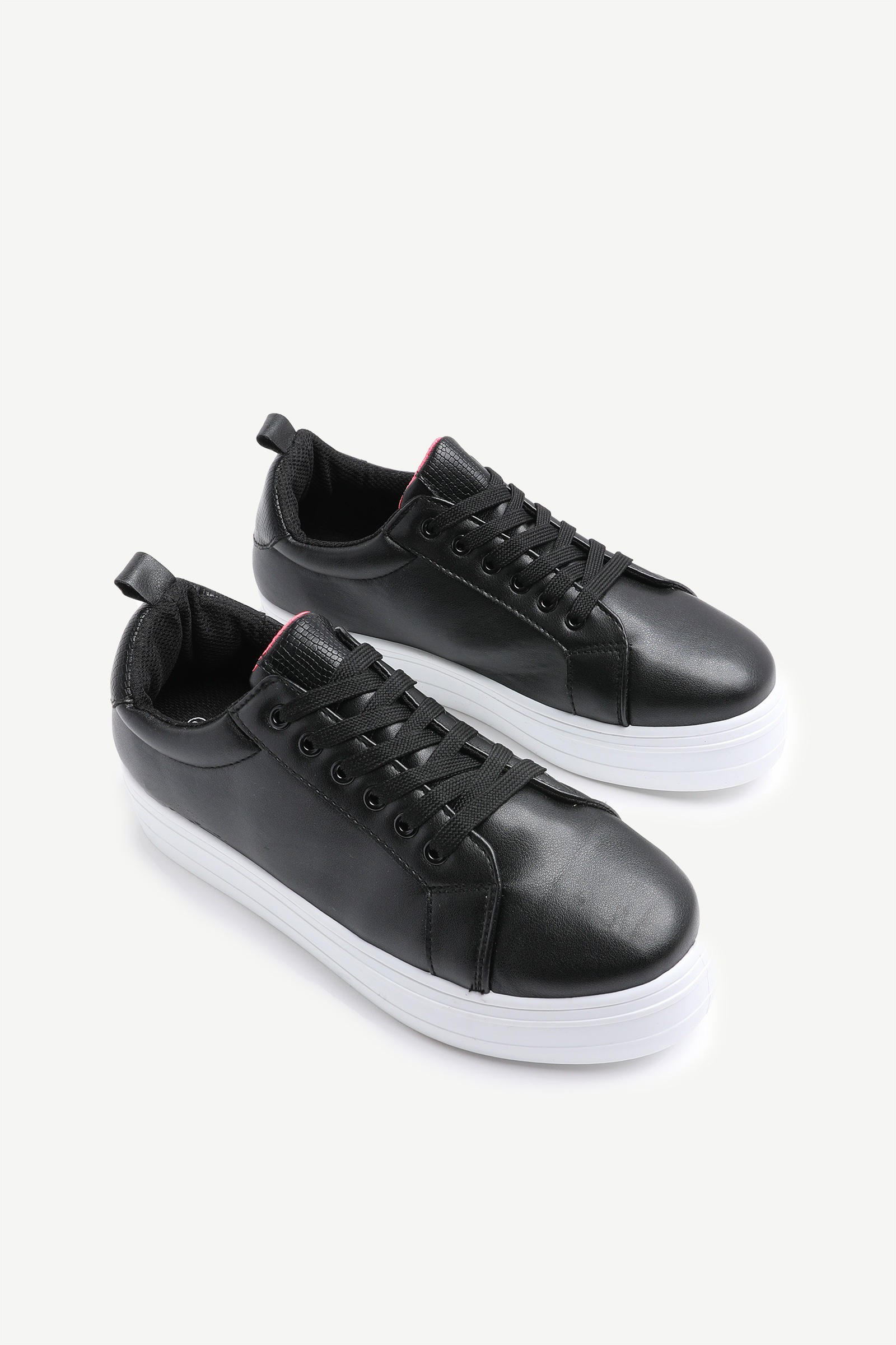 Faux Leather Platform Sneakers