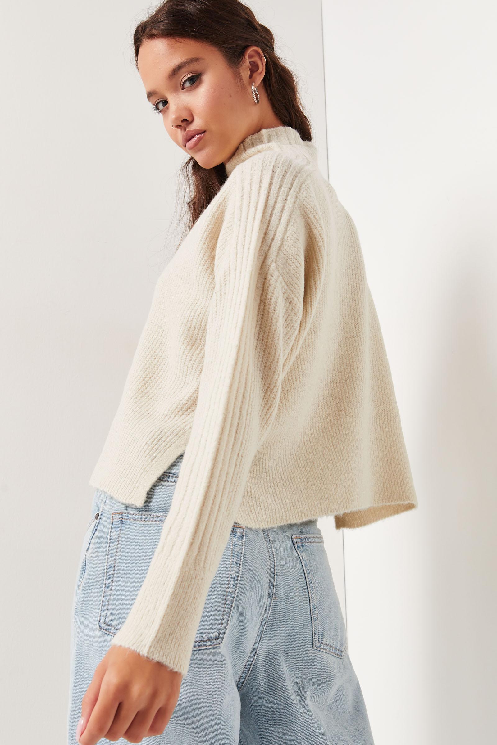 Pull à col montant en tricot brossé