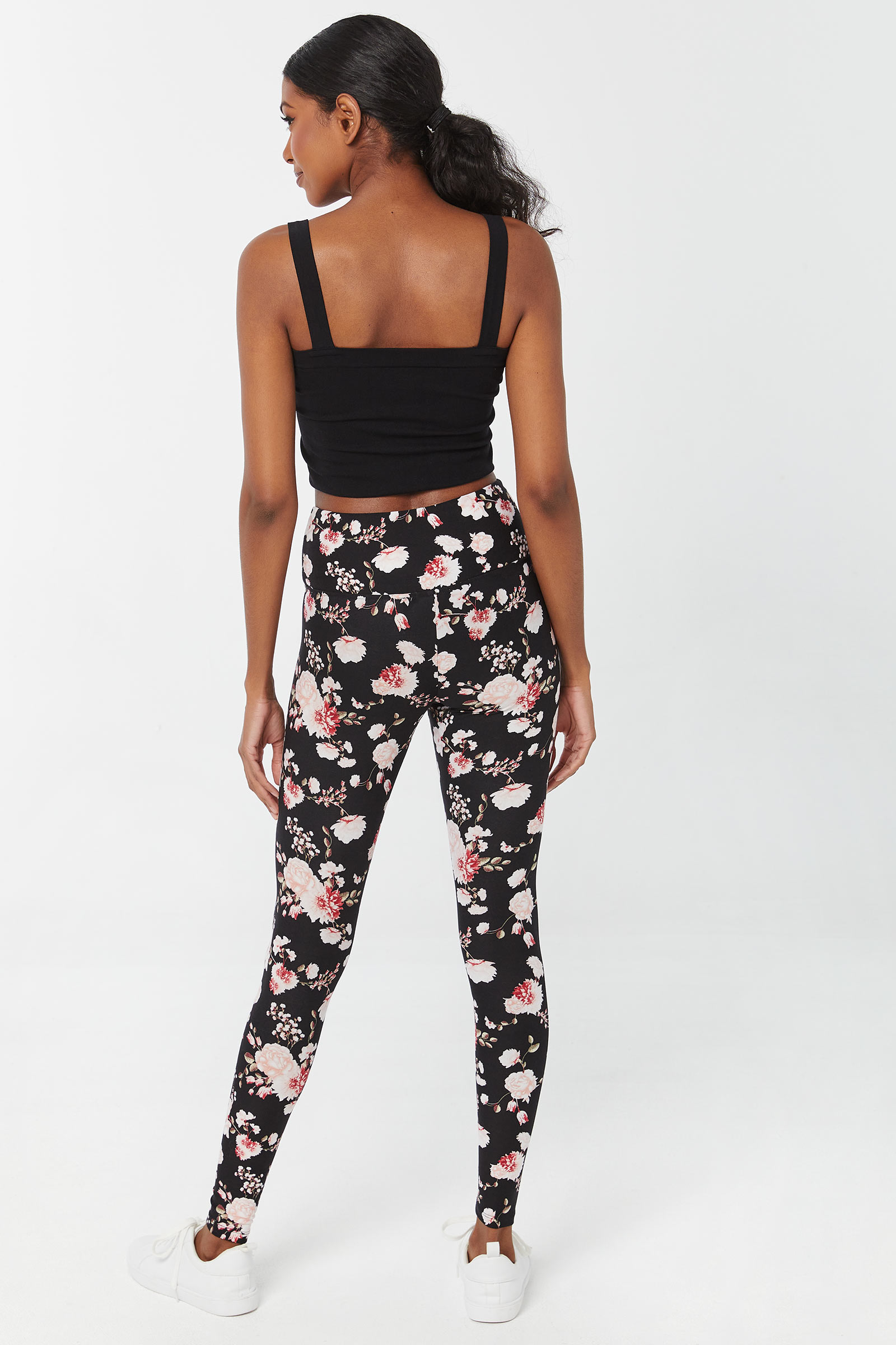 Floral Leggings with V Waistband