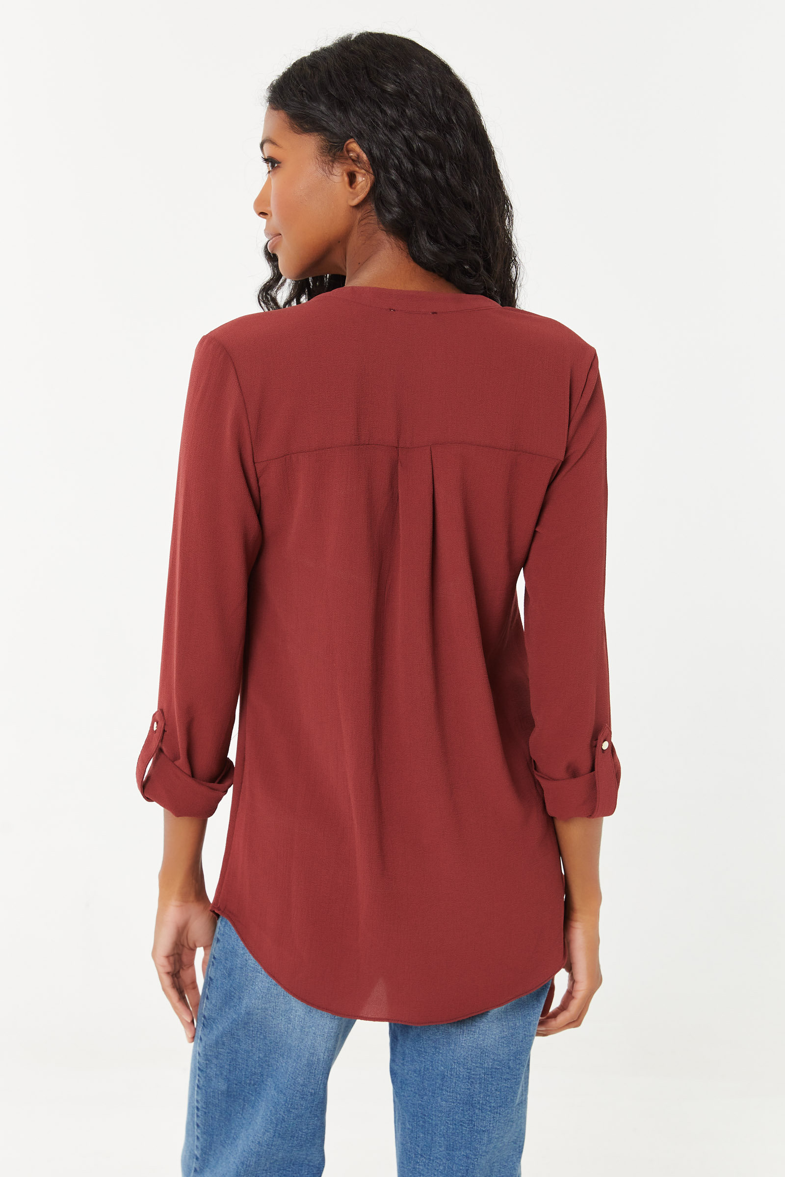 Slip On Blouse with Zip Pockets