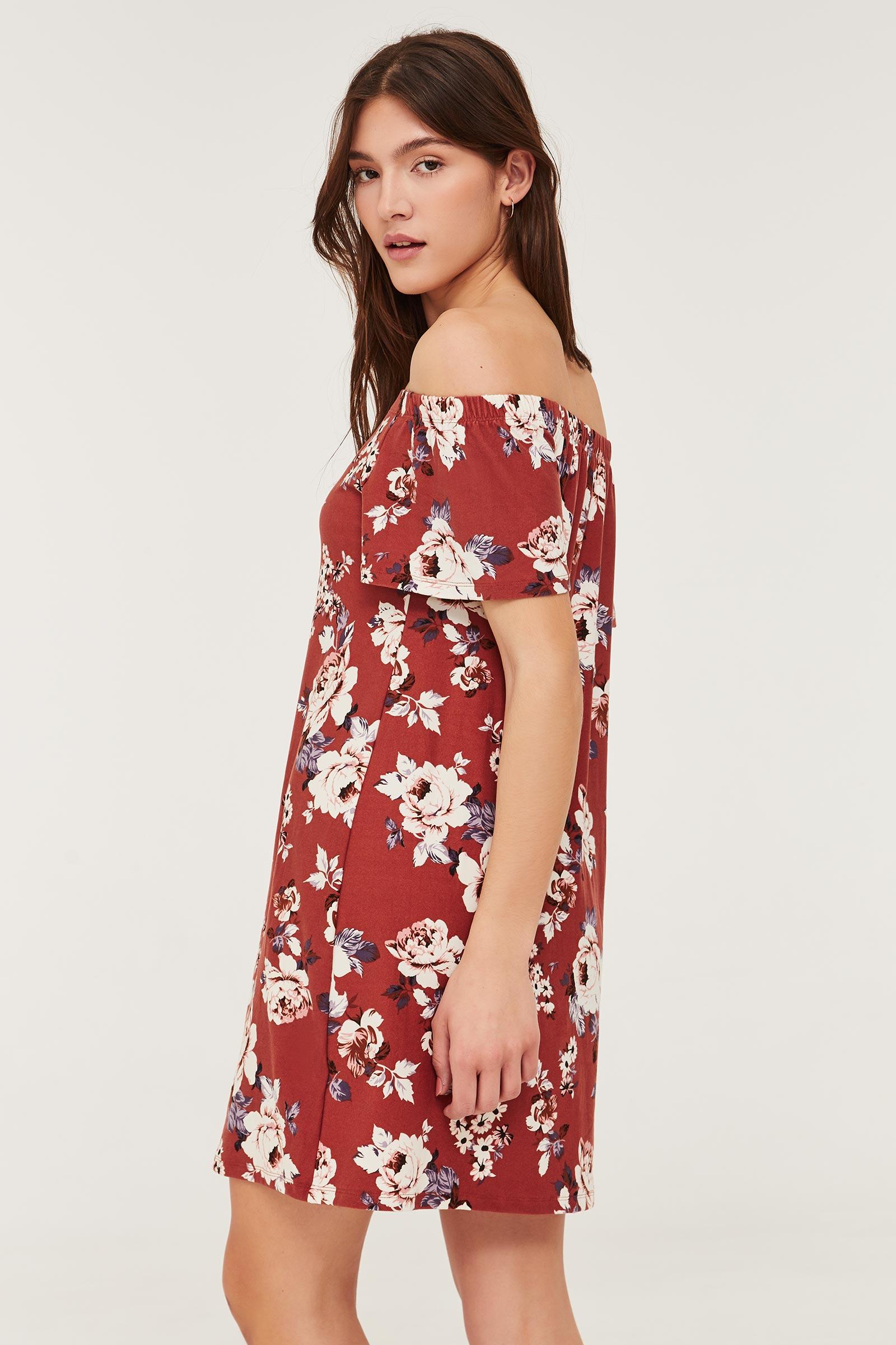Basic Mini Floral Off Shoulder Dress