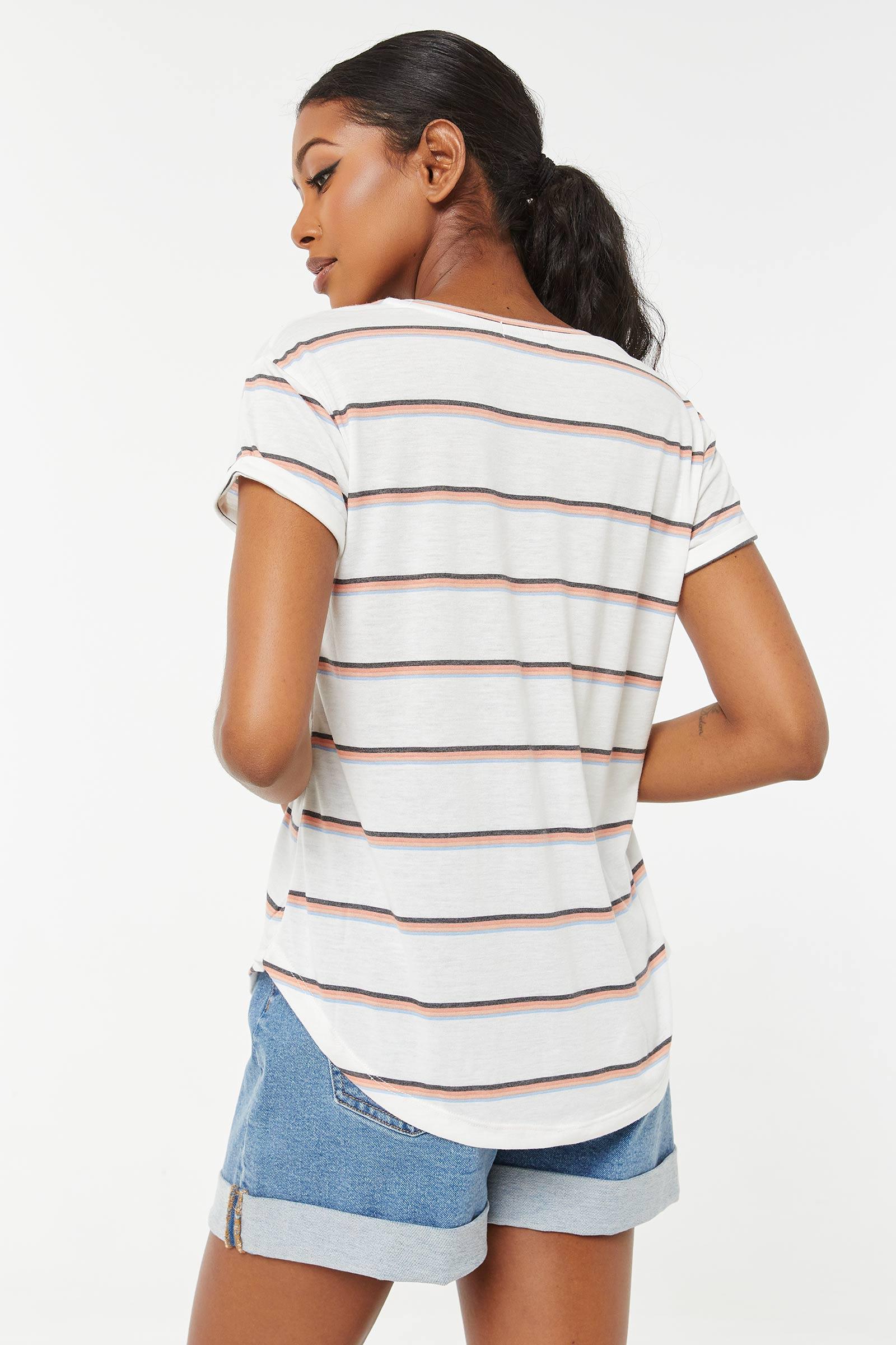 Striped Round-Hem Tee