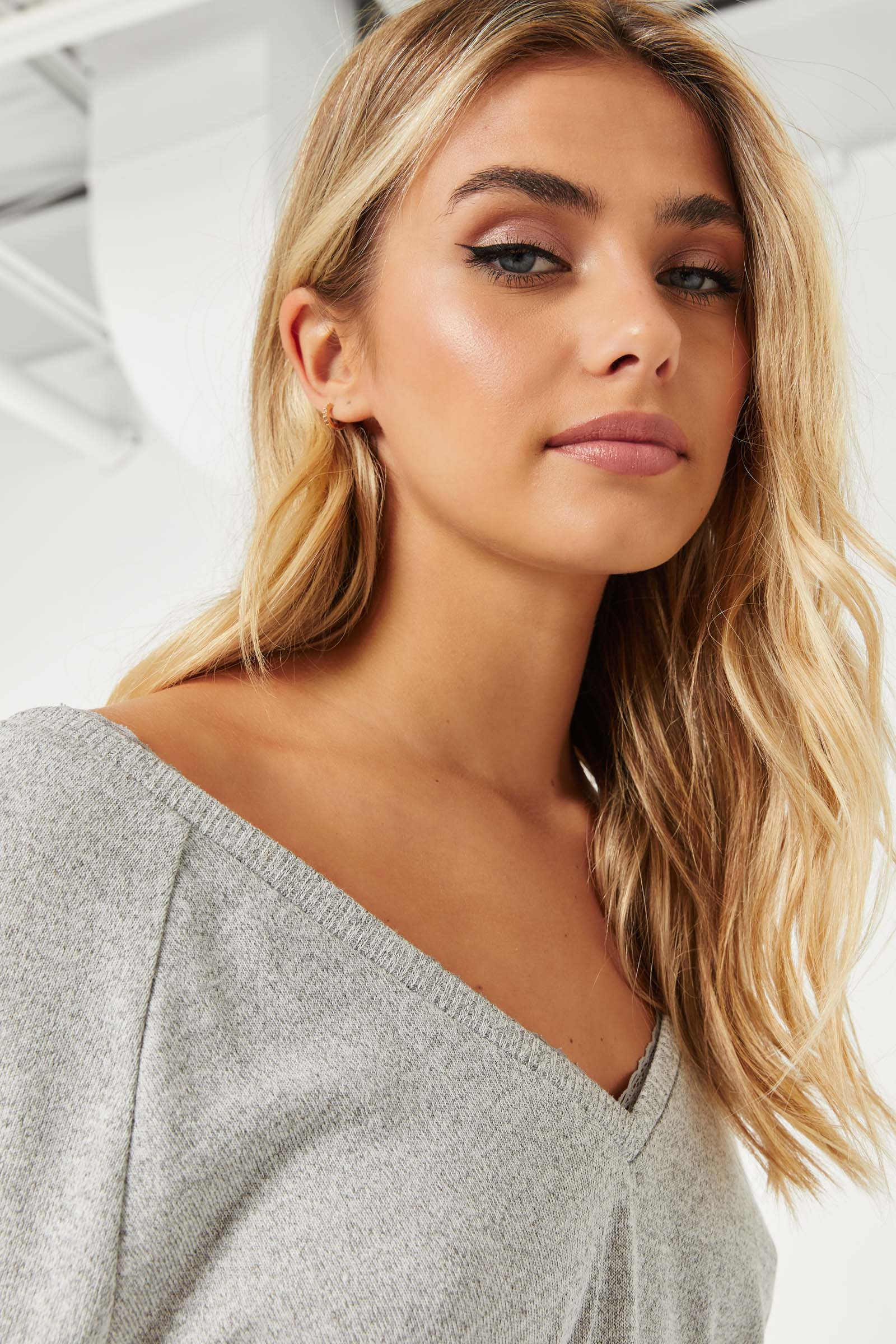 Sweater with Lace V-Neck