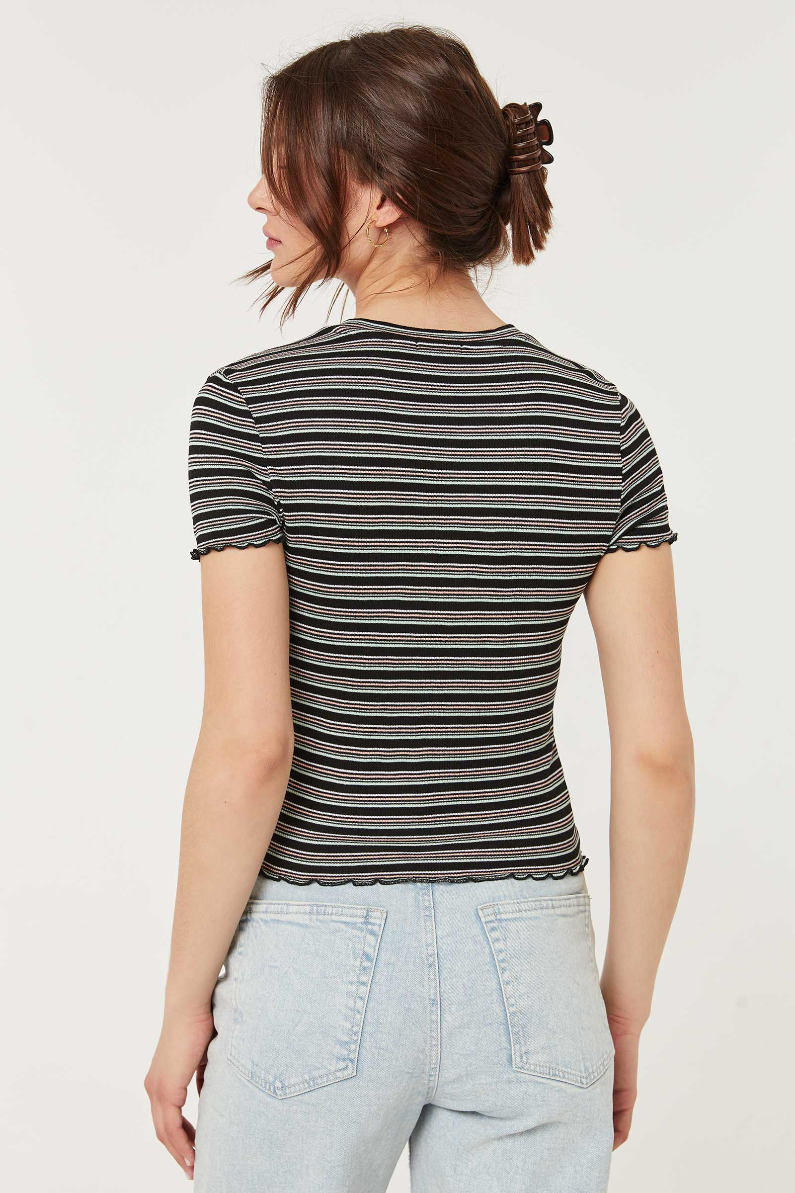 T-shirt rayé festonné