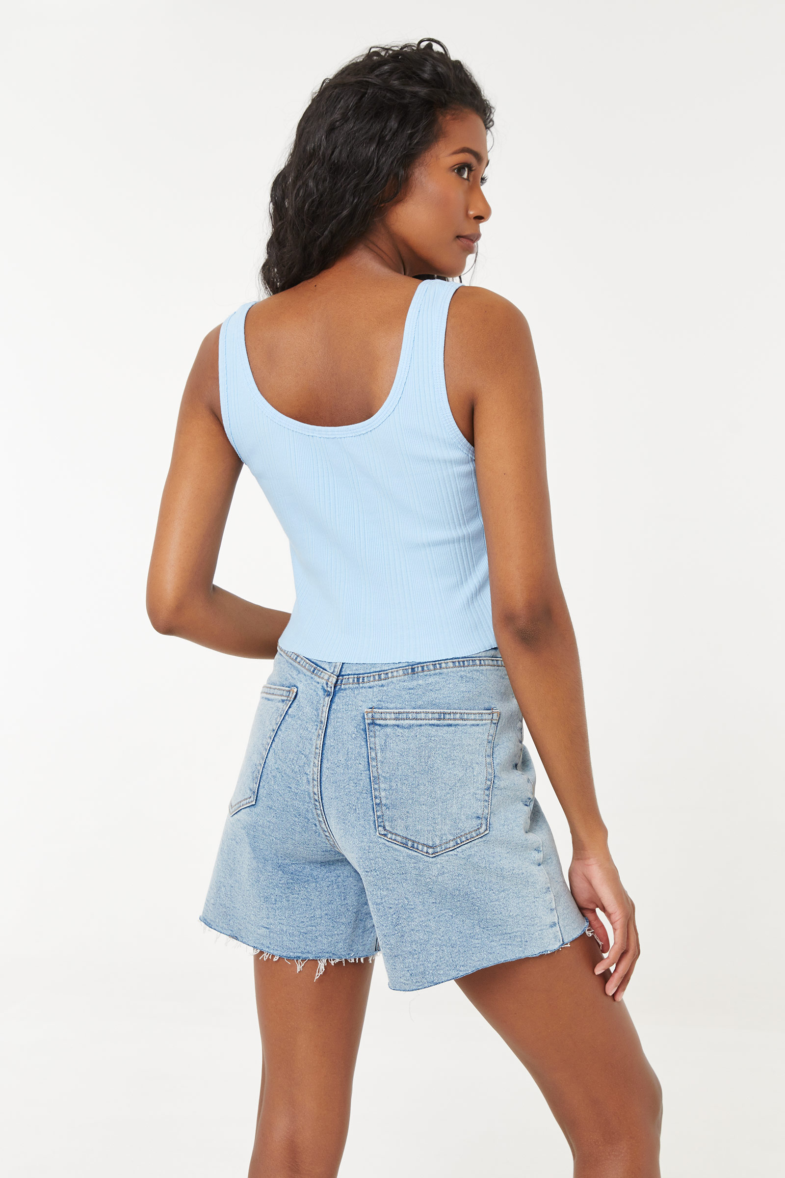 Ribbed Notched Tank Top