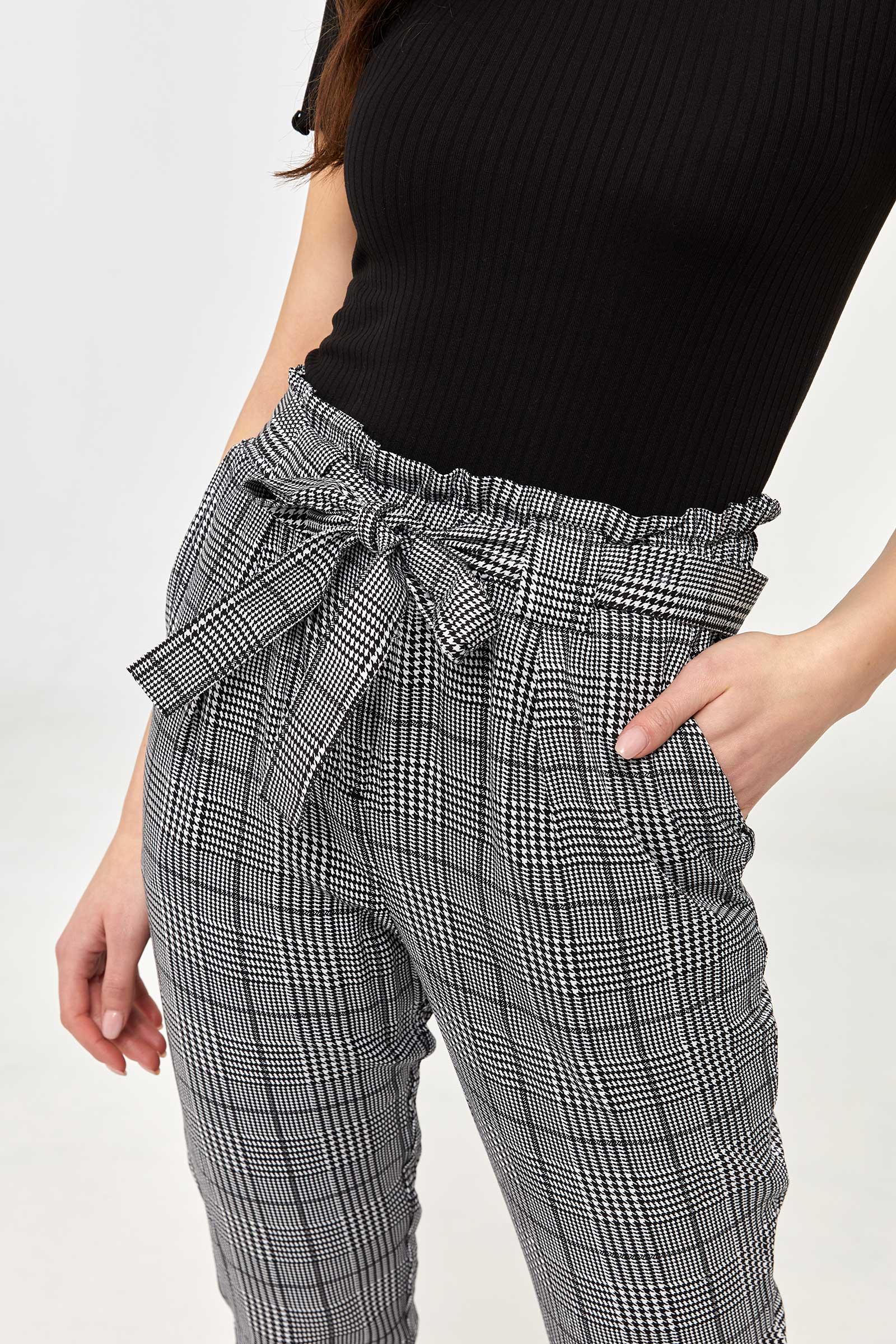 Glen Plaid Paper Bag Pants