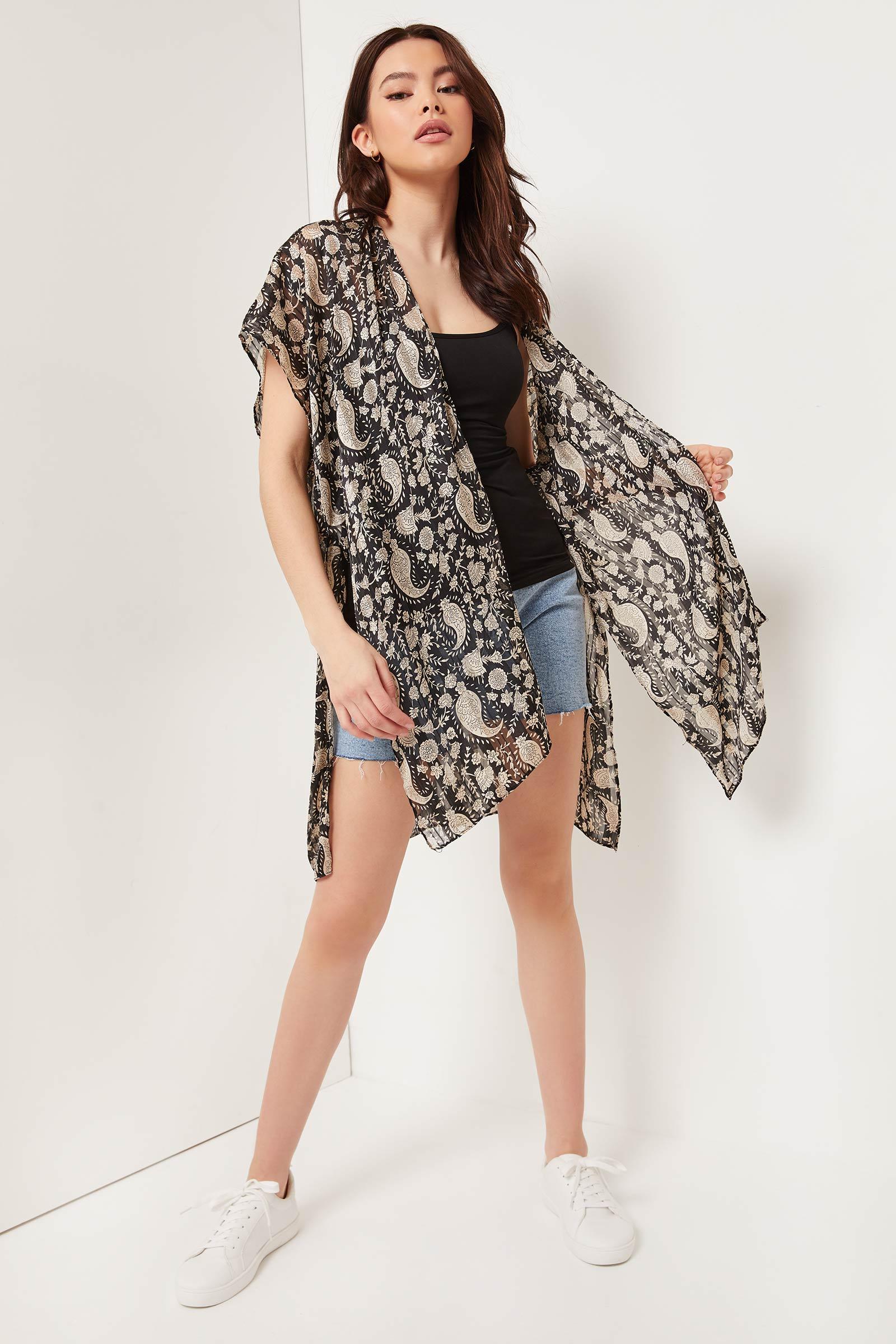 Kimono long cachemire