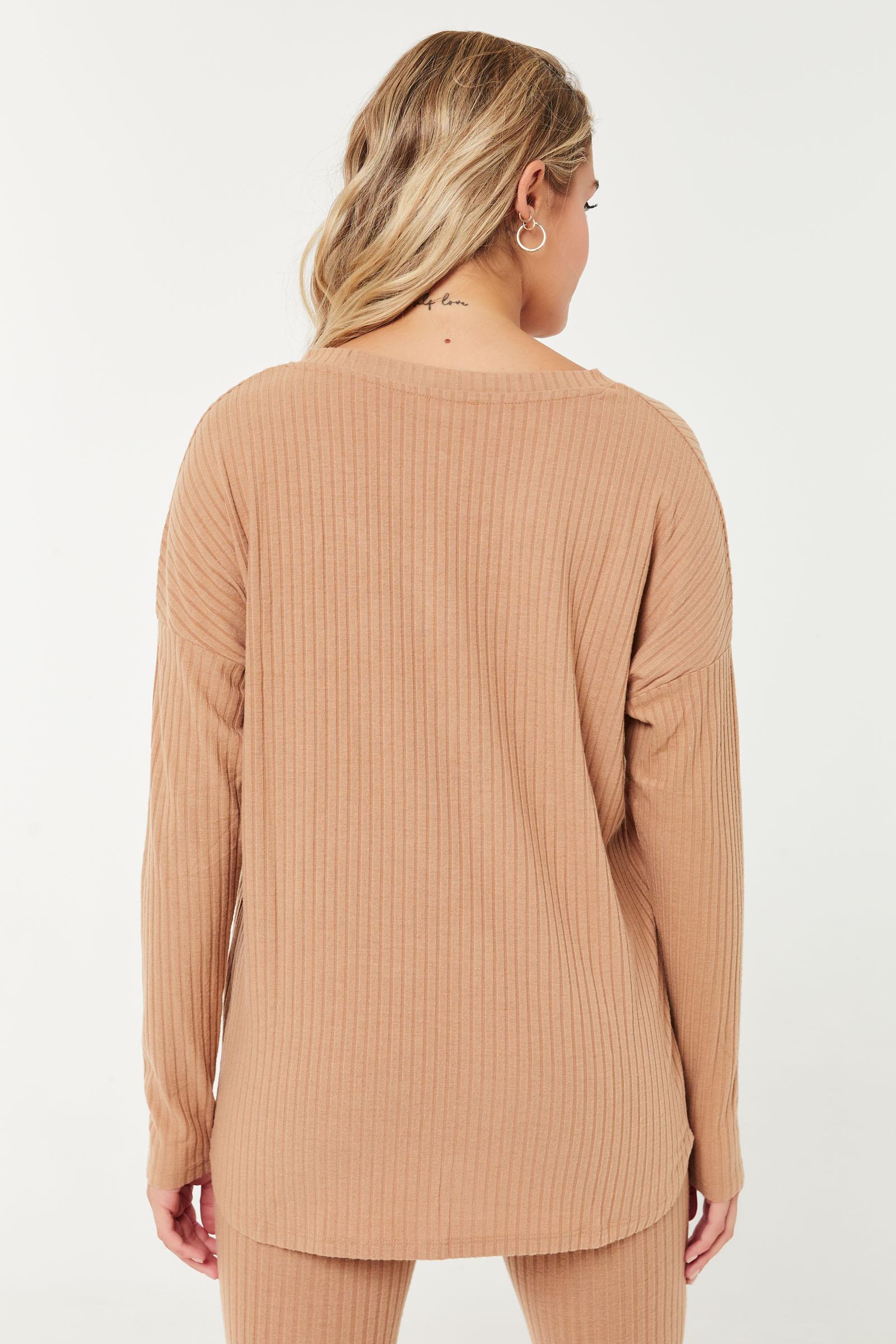 Brushed Ribbed V-Neck Sweater
