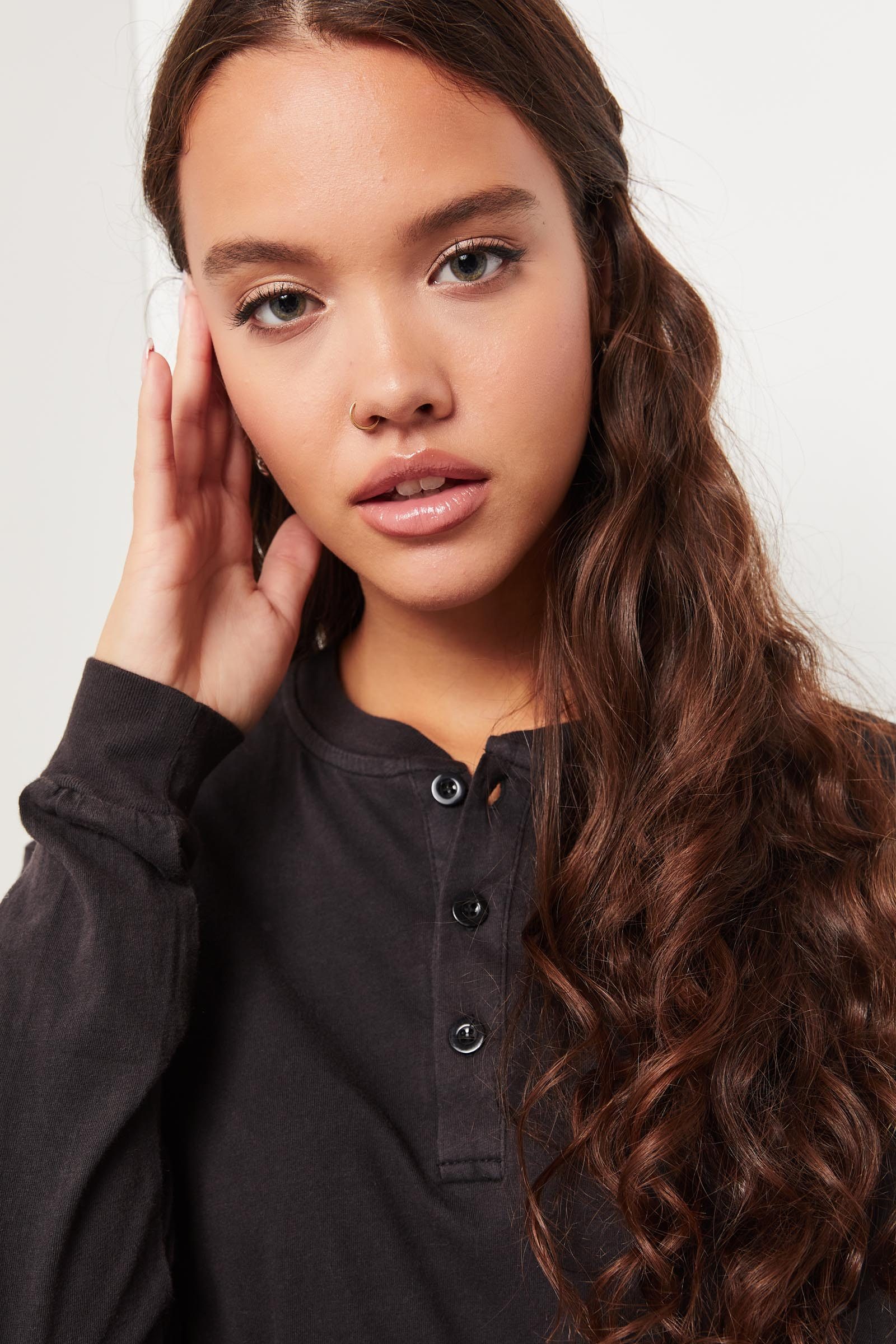Cropped Long-Sleeved Henley Tee