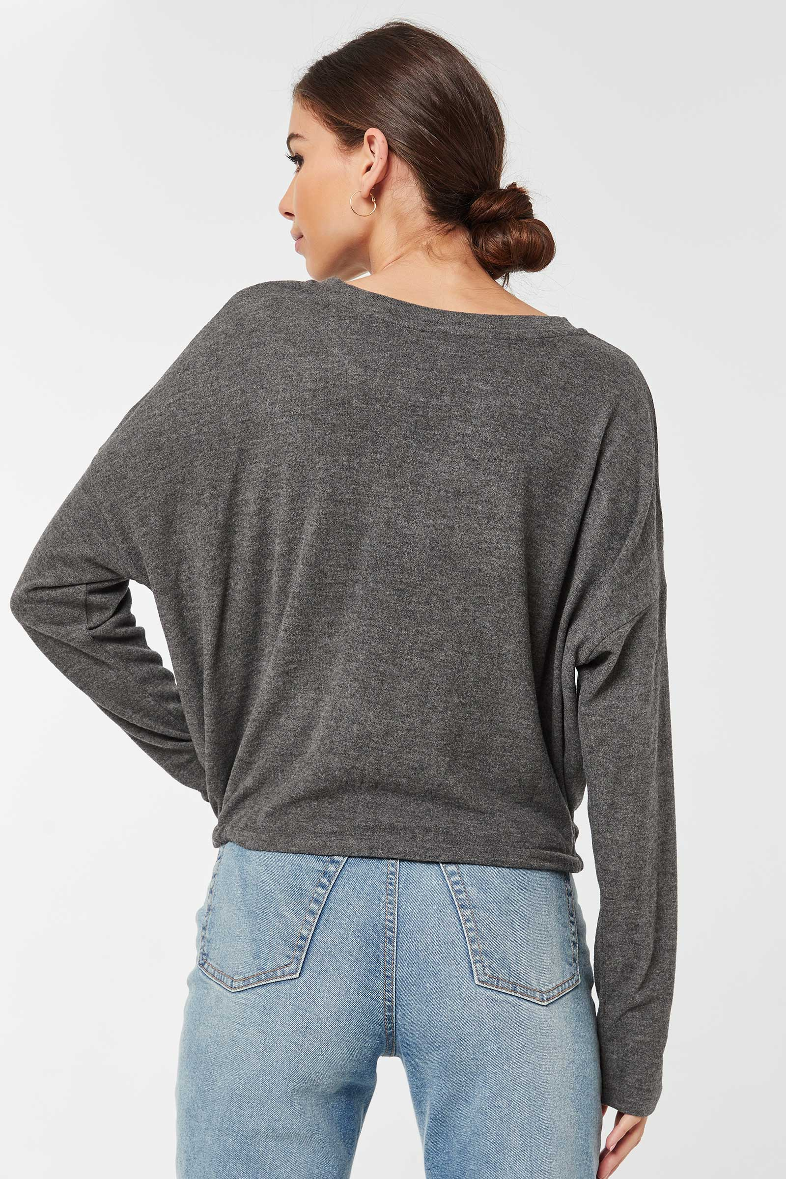 Brushed Sweater with Drawstring