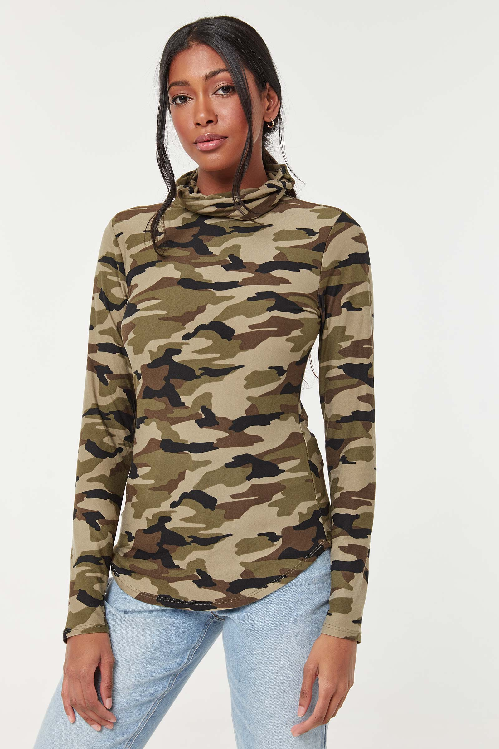 Camo Top with Integrated Mask