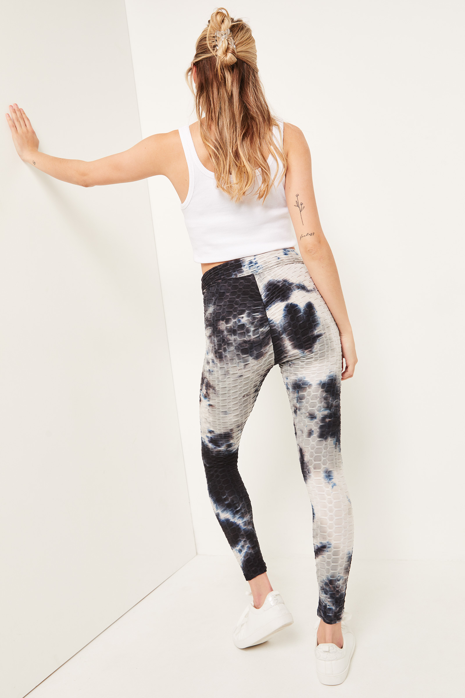 Ruched Back Textured Leggings
