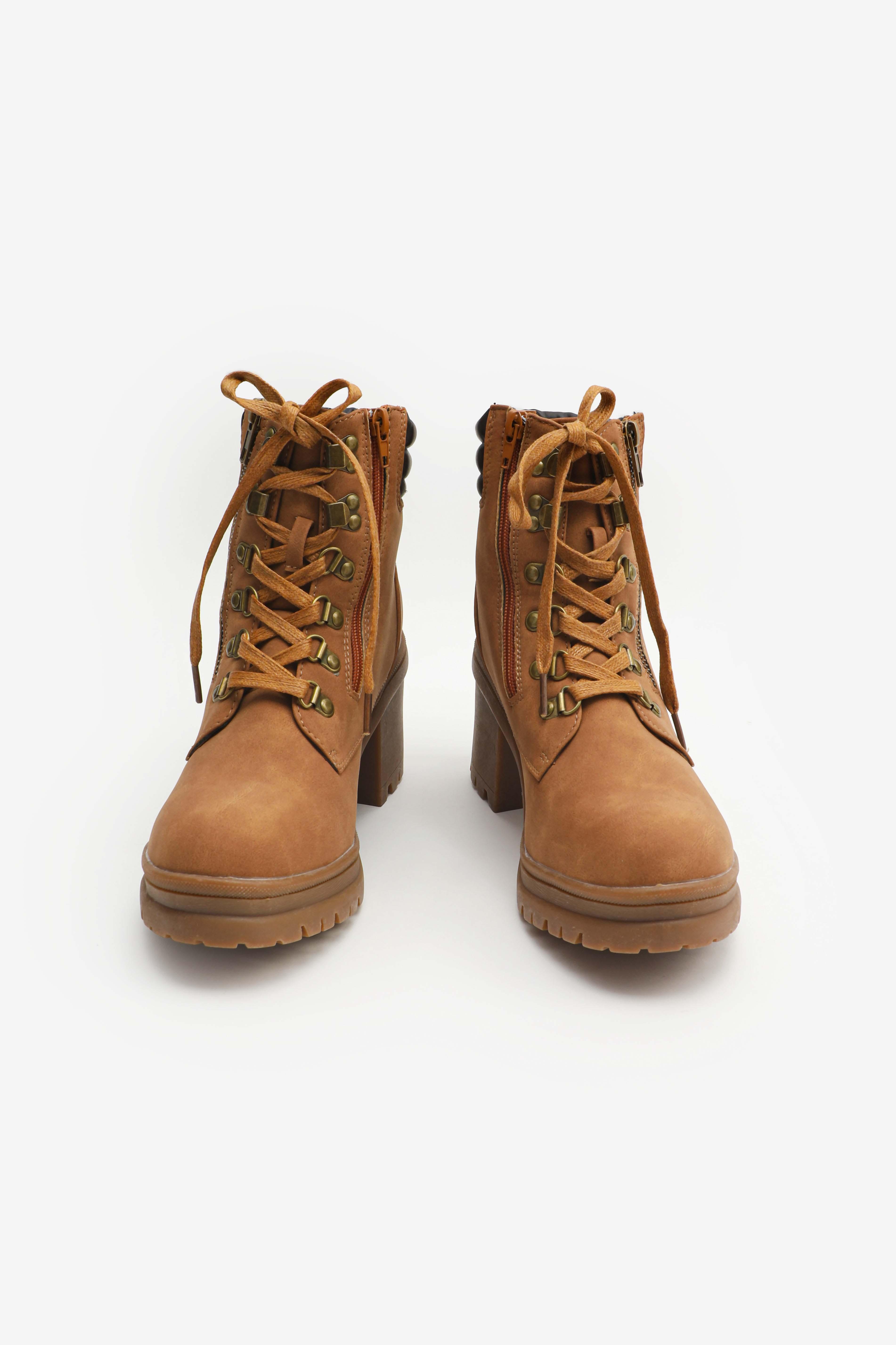 Microsuede Block Heel Boots