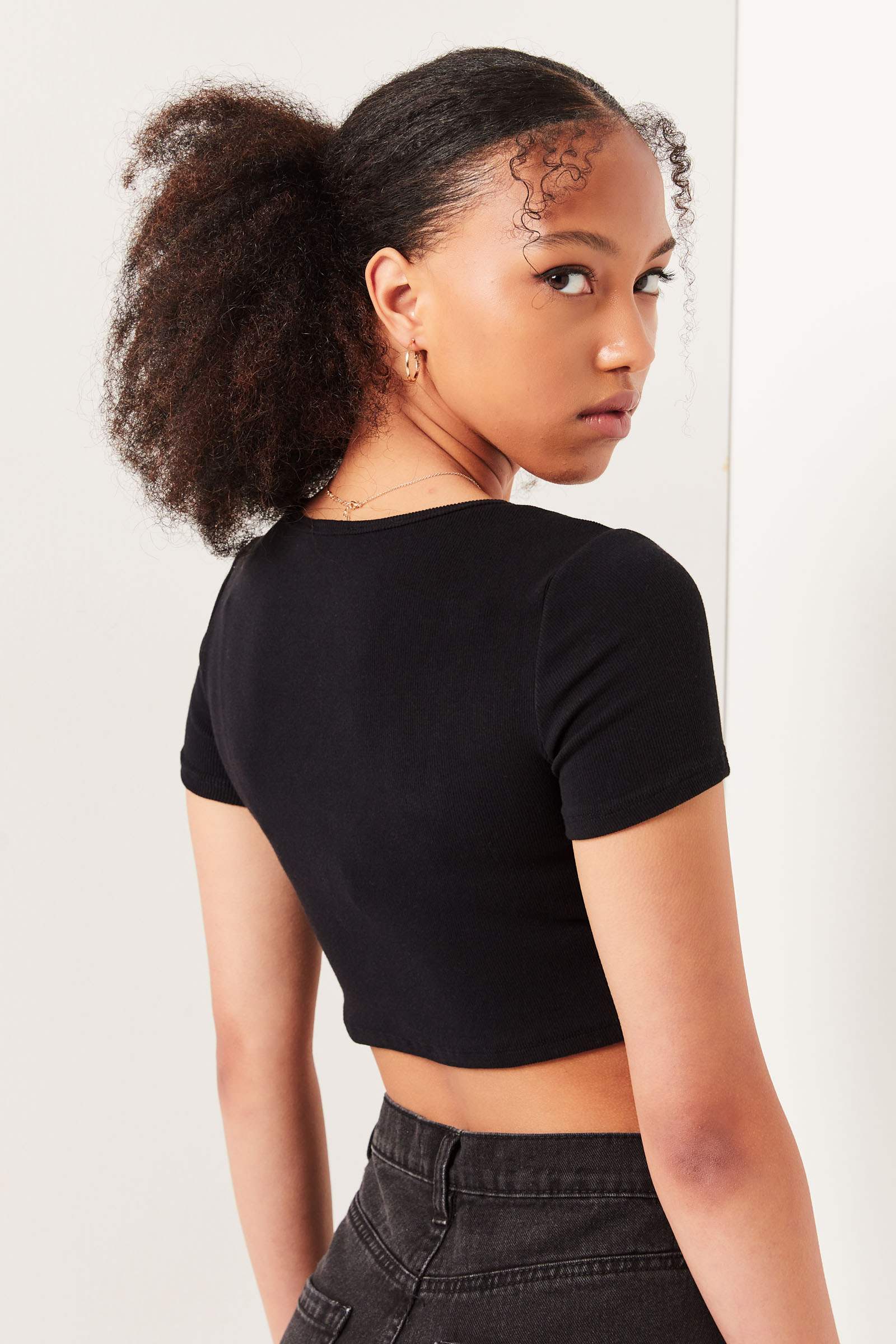 Ribbed Button Front Tee