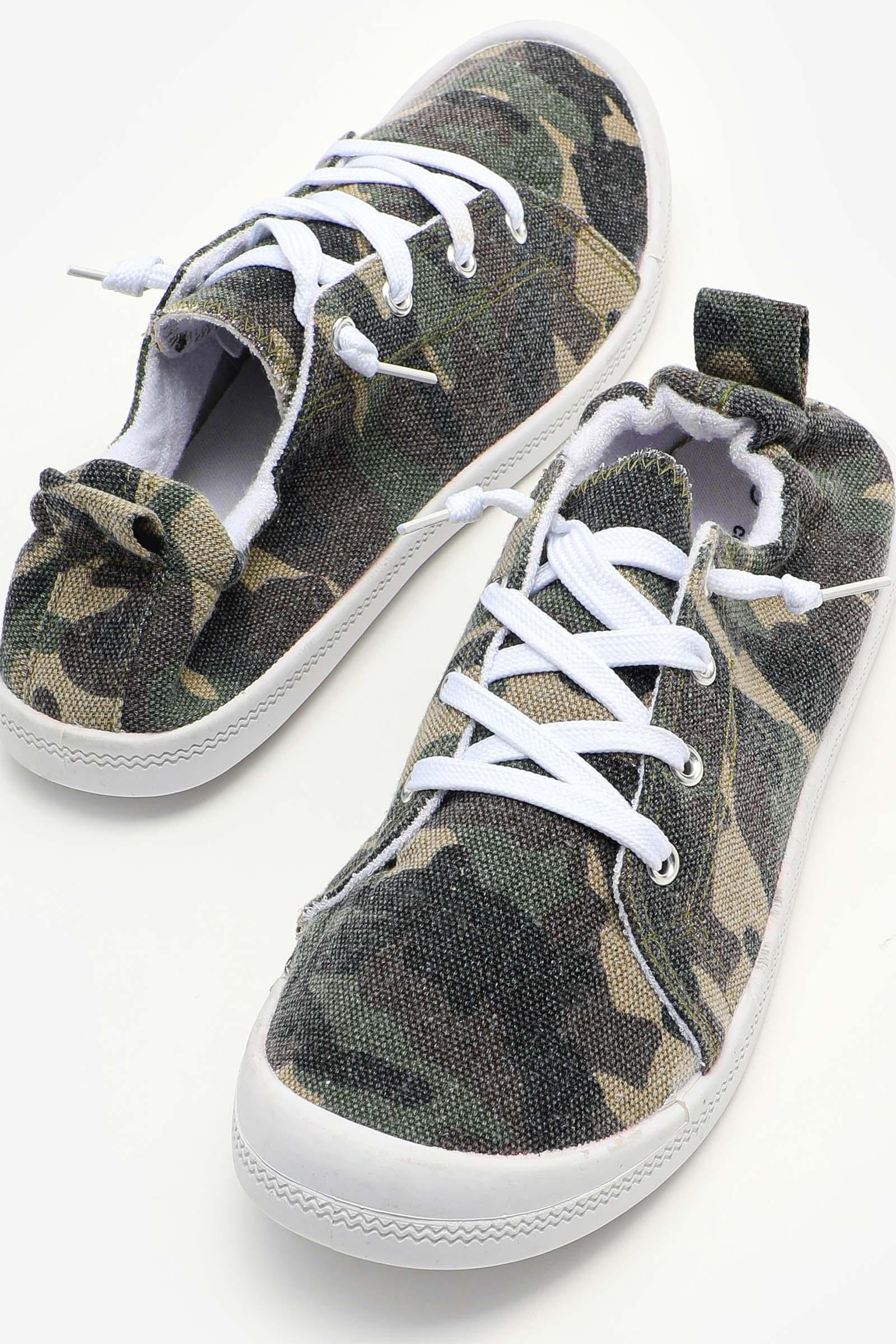 Camo Elastic Back Sneakers