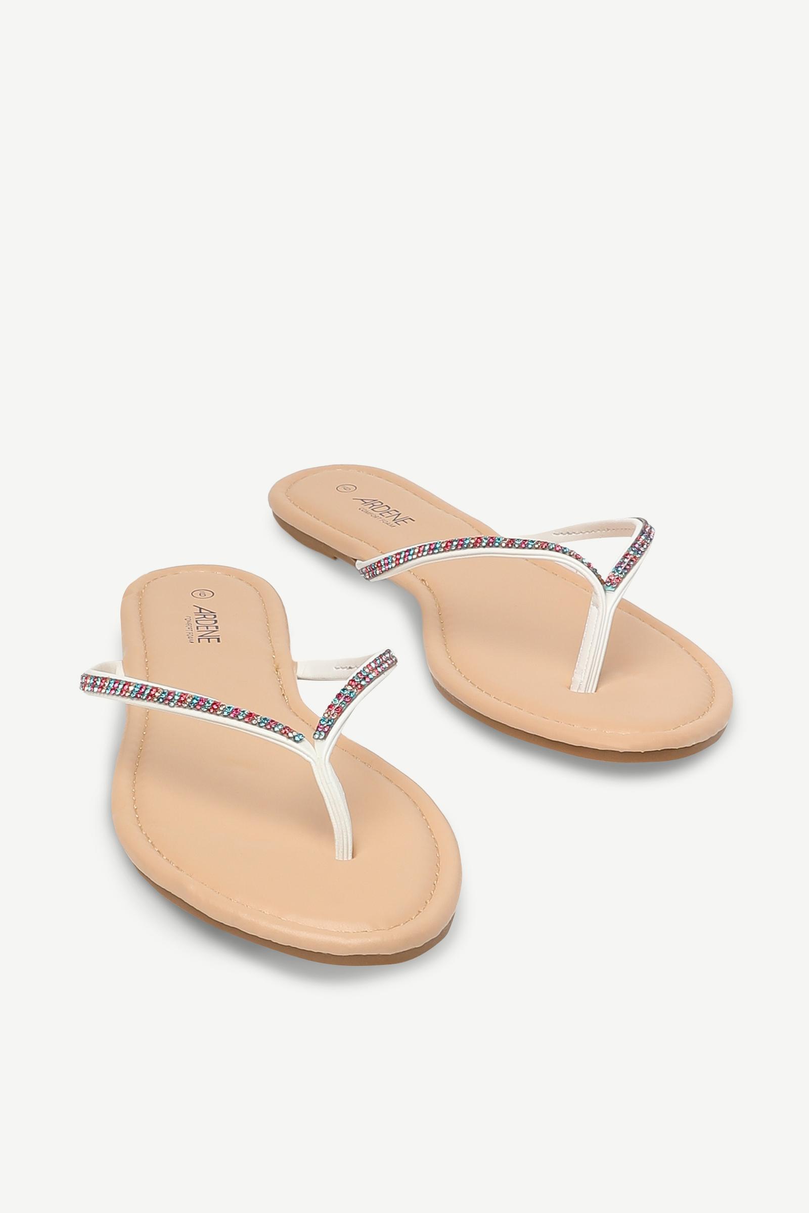 Faux Gem Flip-Flop Sandals