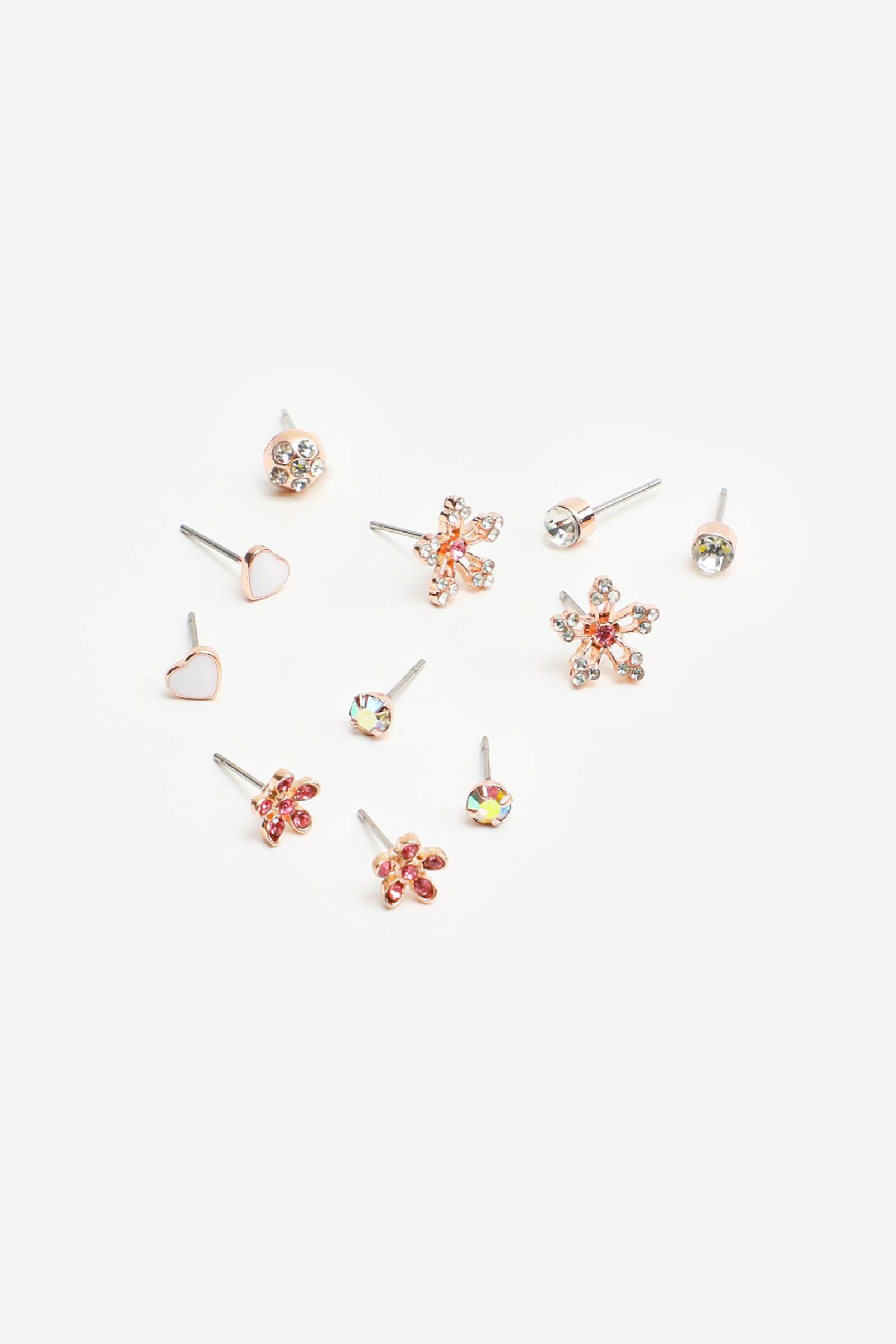 6-Pack Floral Stud Earrings