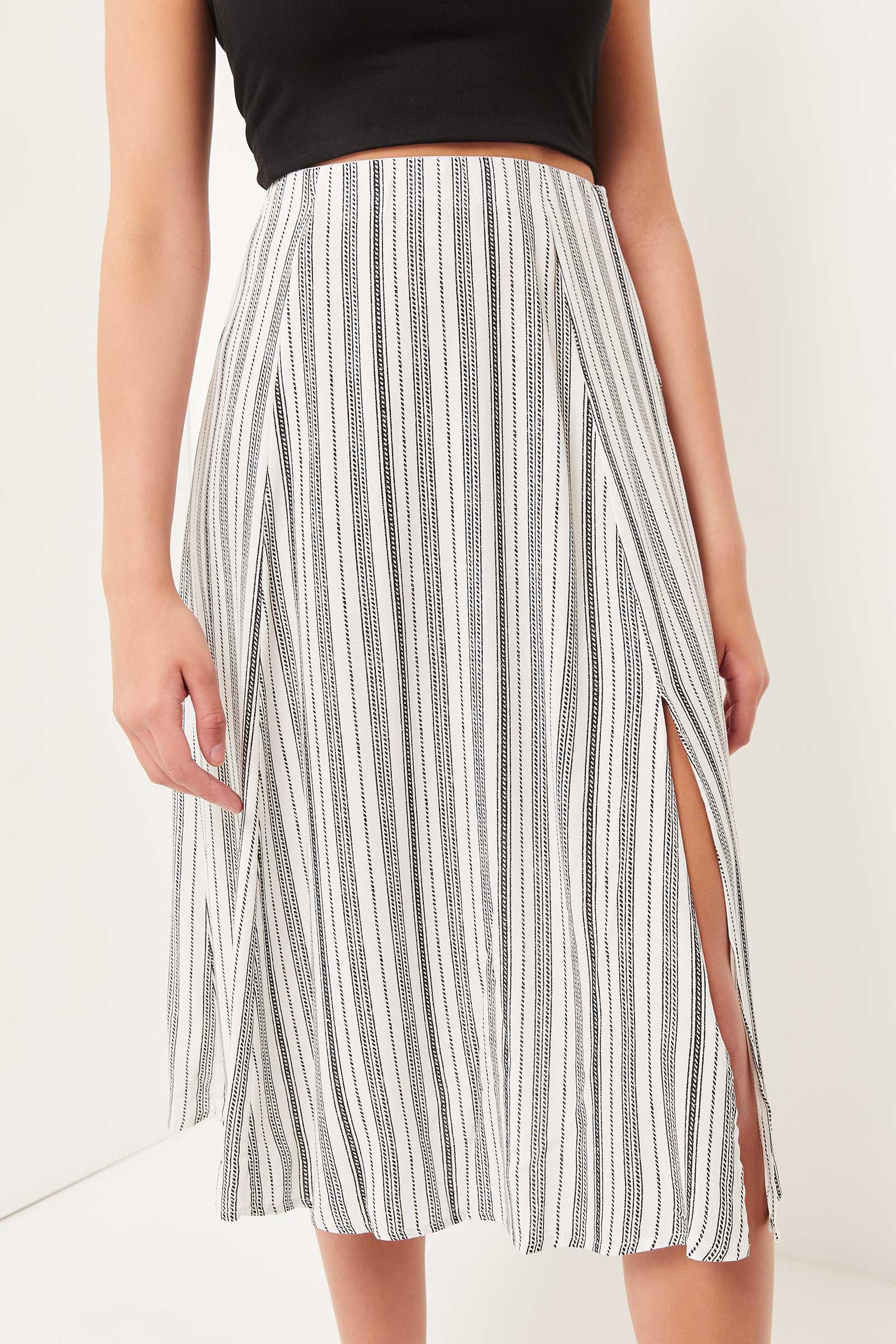 Crêpe Striped Maxi Skirt