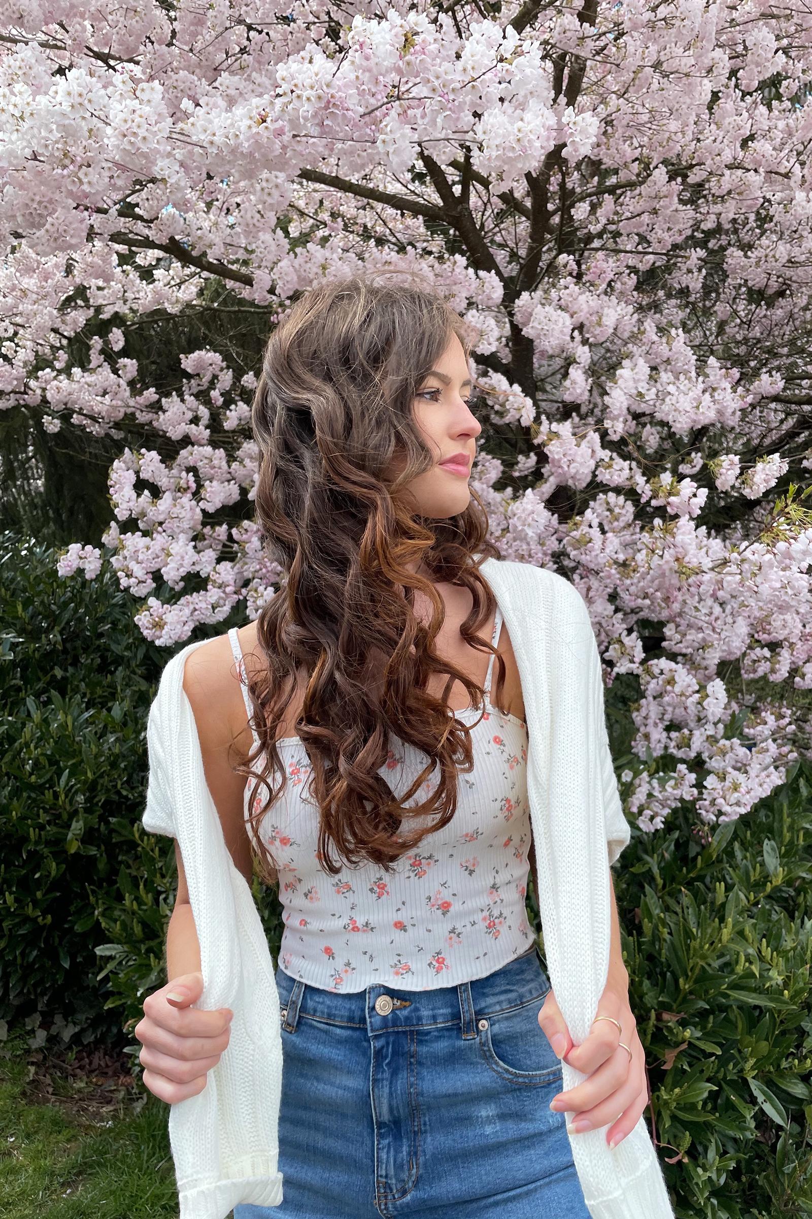 Cami côtelée courte fleurie