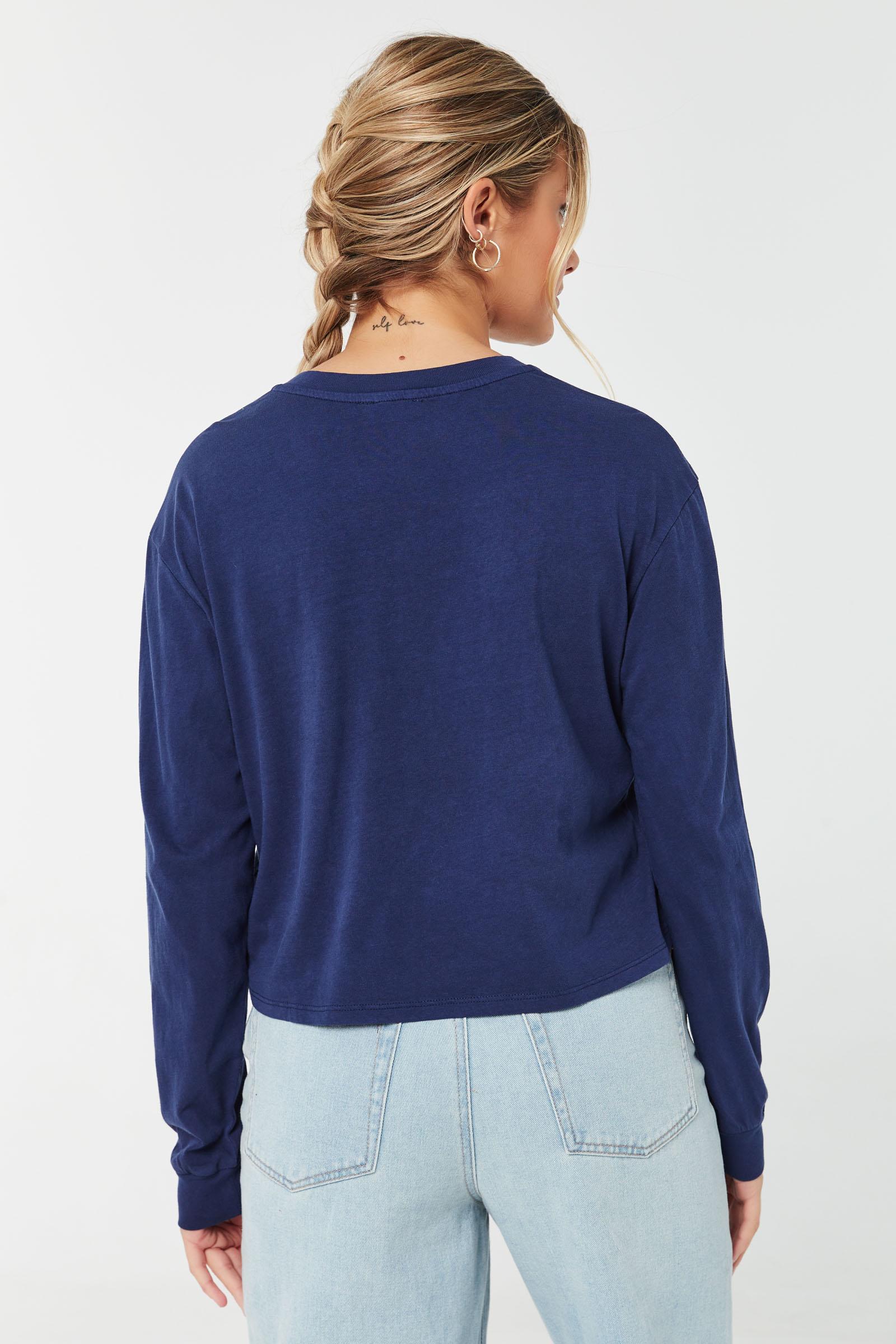 T-shirt henley court à manches longues