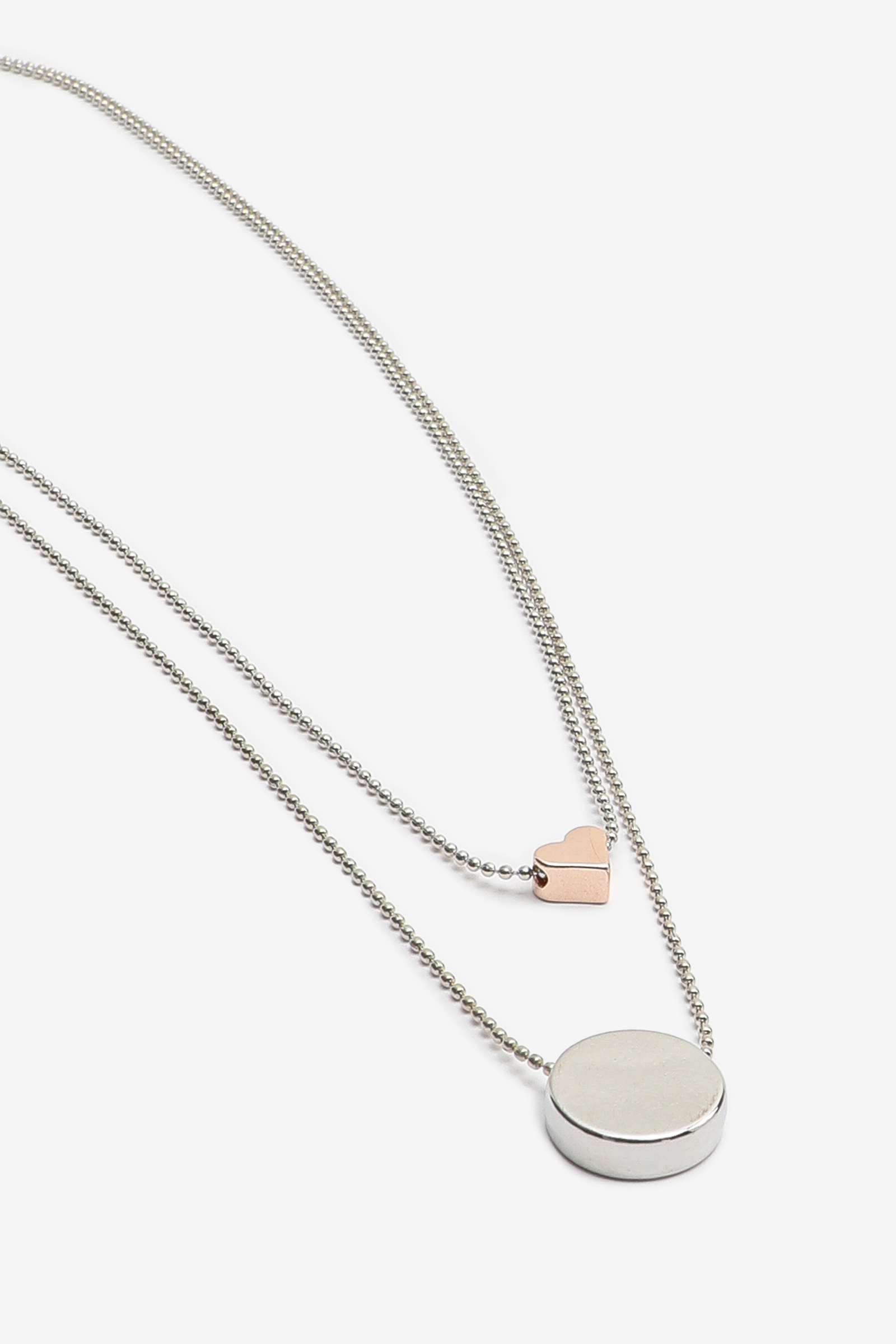 Necklace with Heart and Circle Pendants