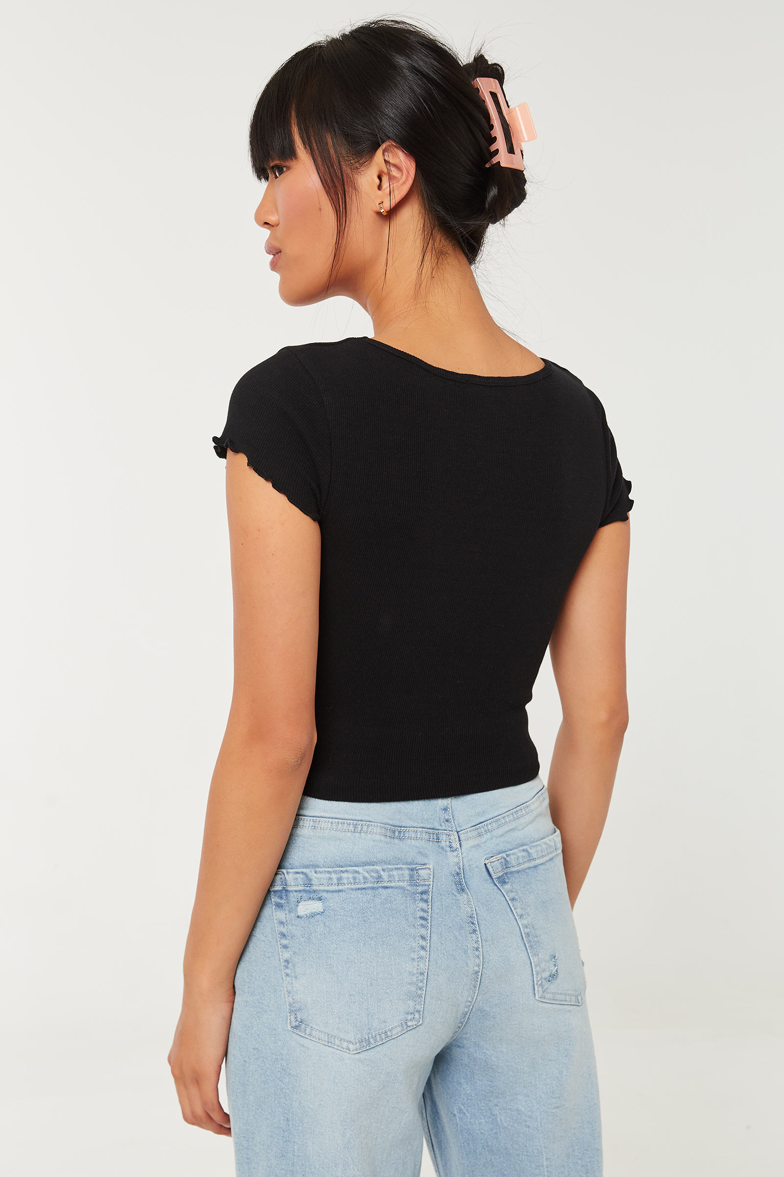 Crop Top with Lettuce Edge Sleeves