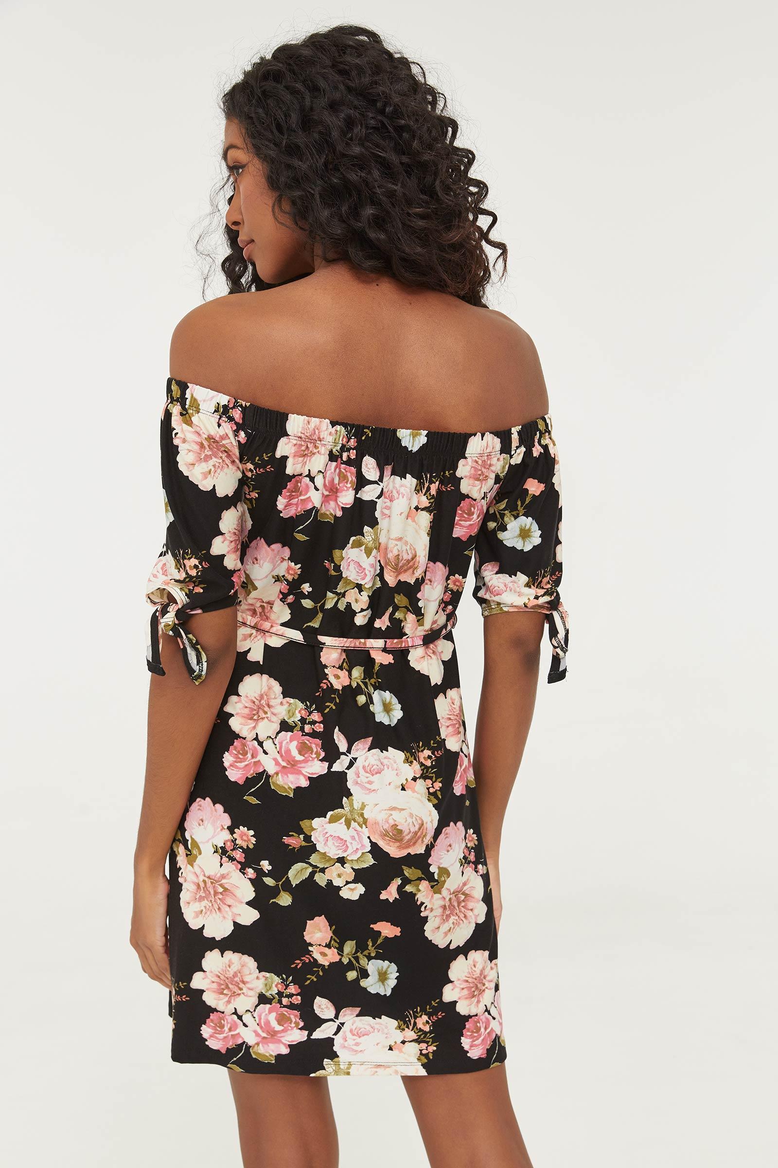 Mini Floral Off Shoulder Dress
