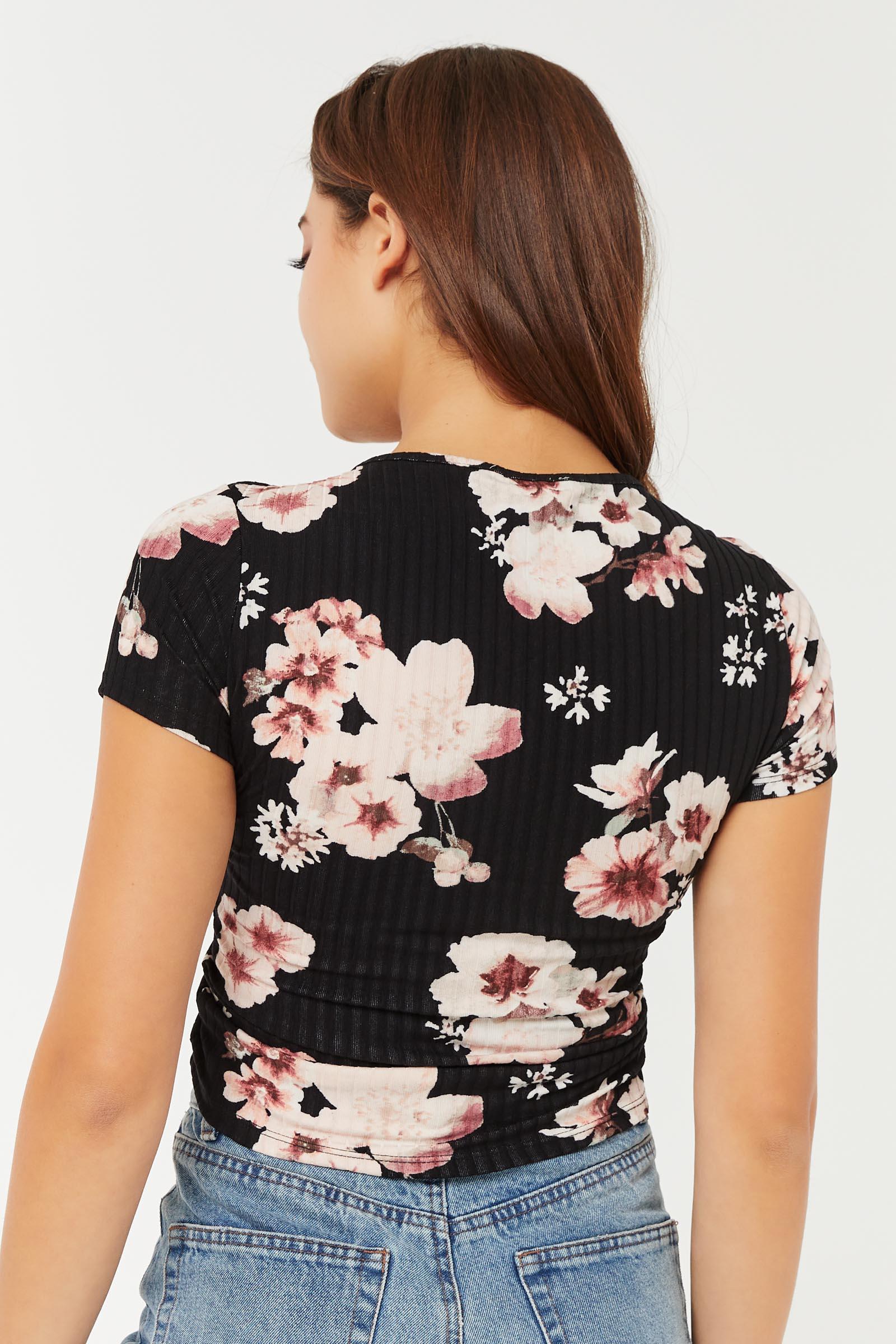 T-shirt ruché à cordon fleuri