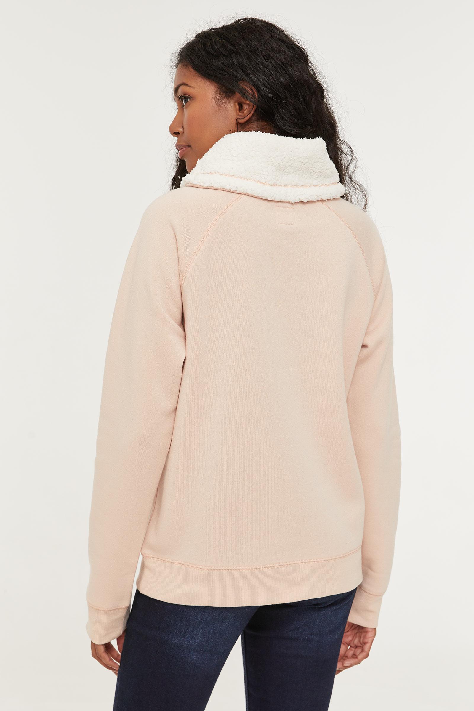 Faux Sherpa Lined Cowl Neck Sweatshirt