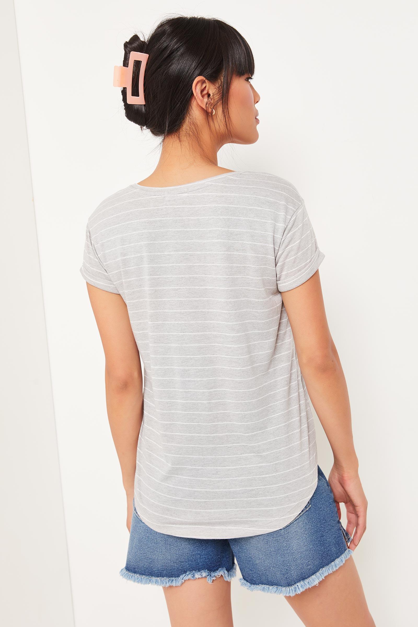 T-shirt rayé à ourlet arrondi