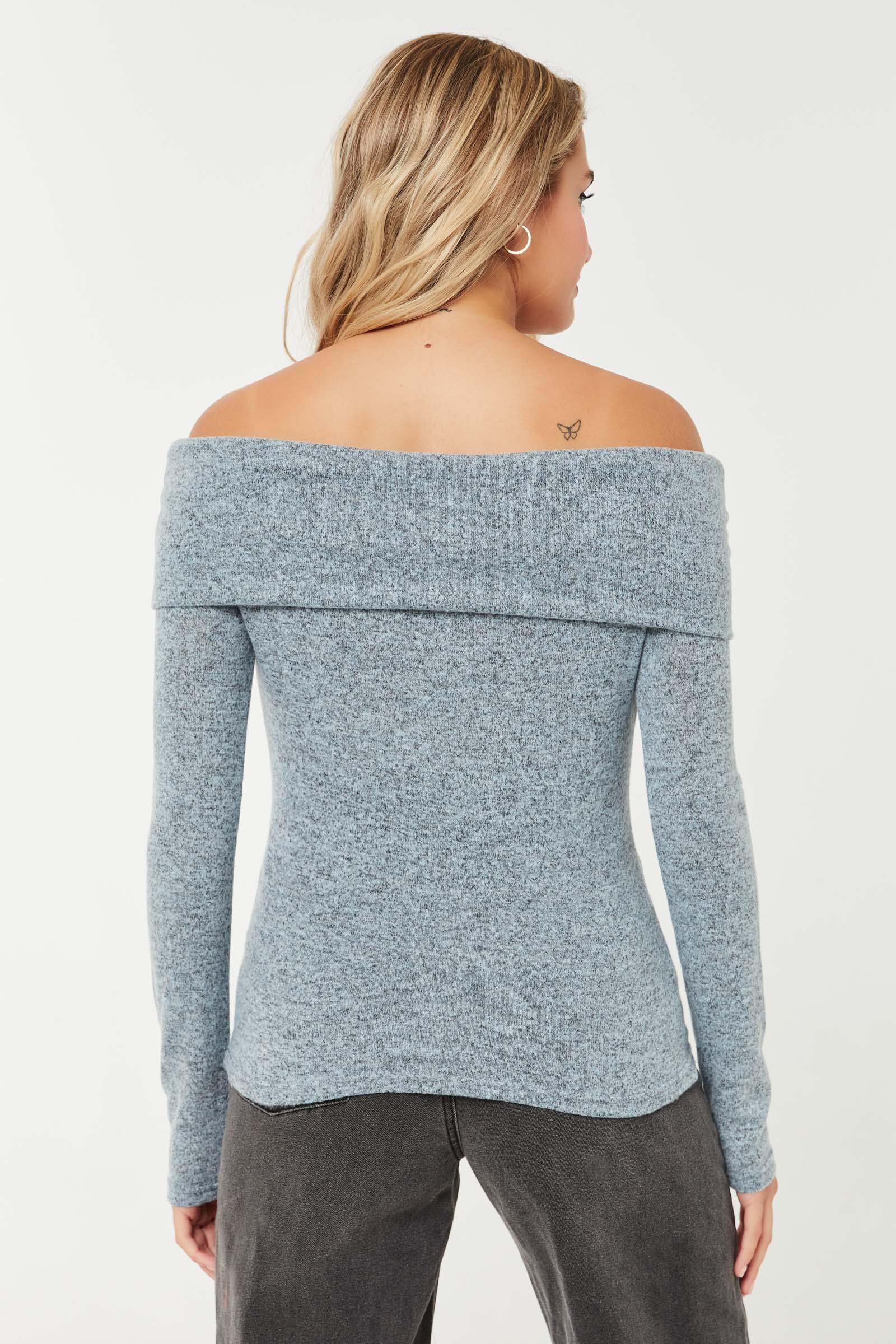 Off Shoulder Brushed Knit Sweater