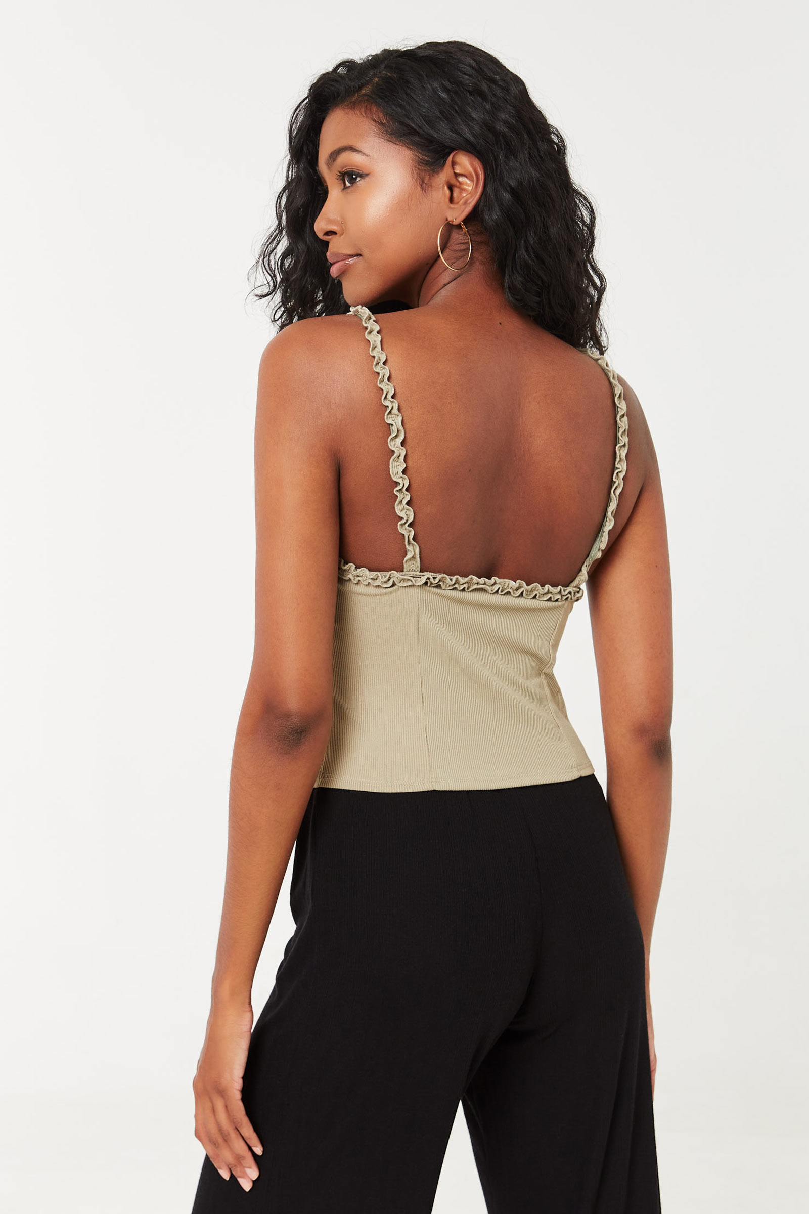 Pointelle Cropped Bustier Top