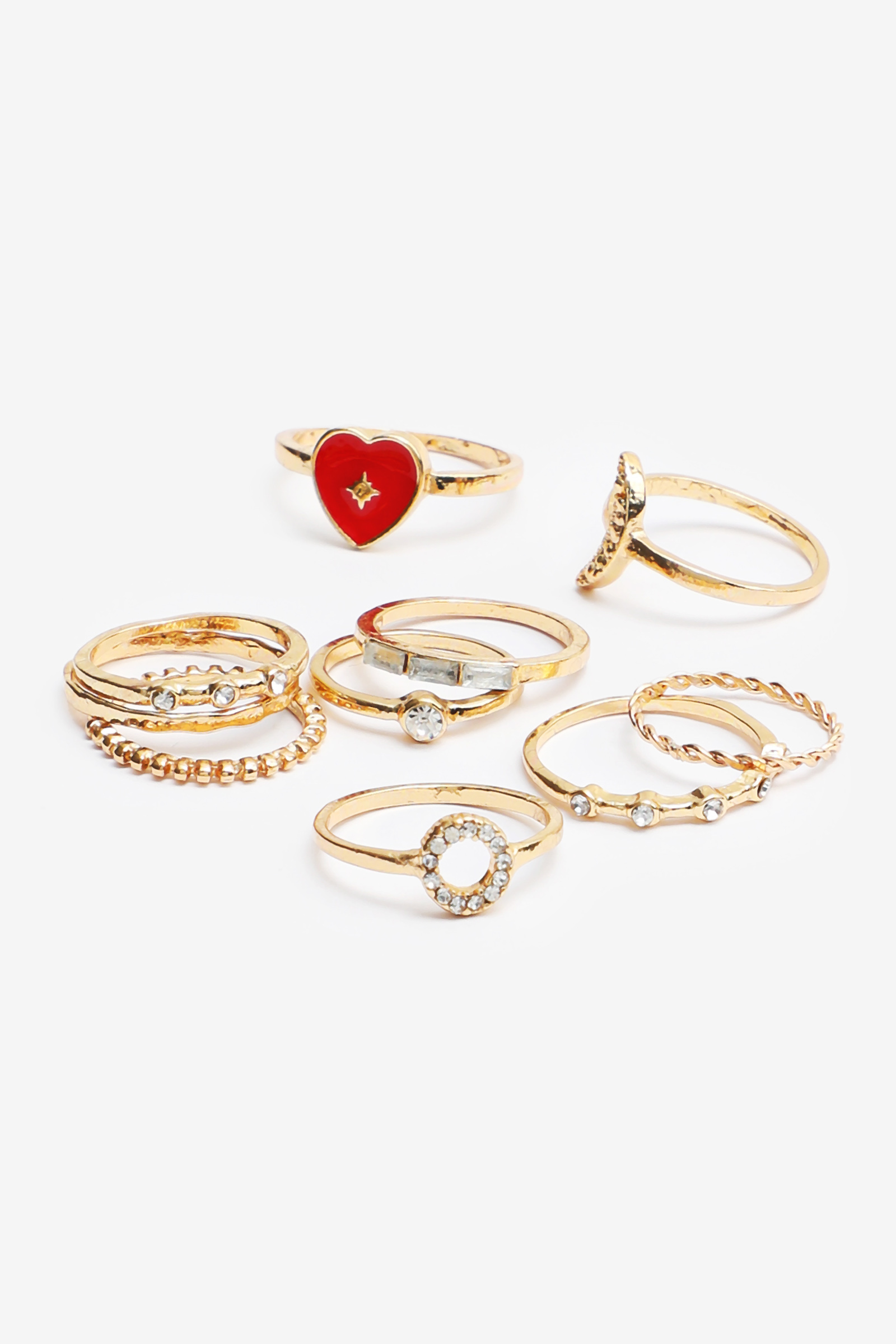 Pack of Heart and Moon Rings